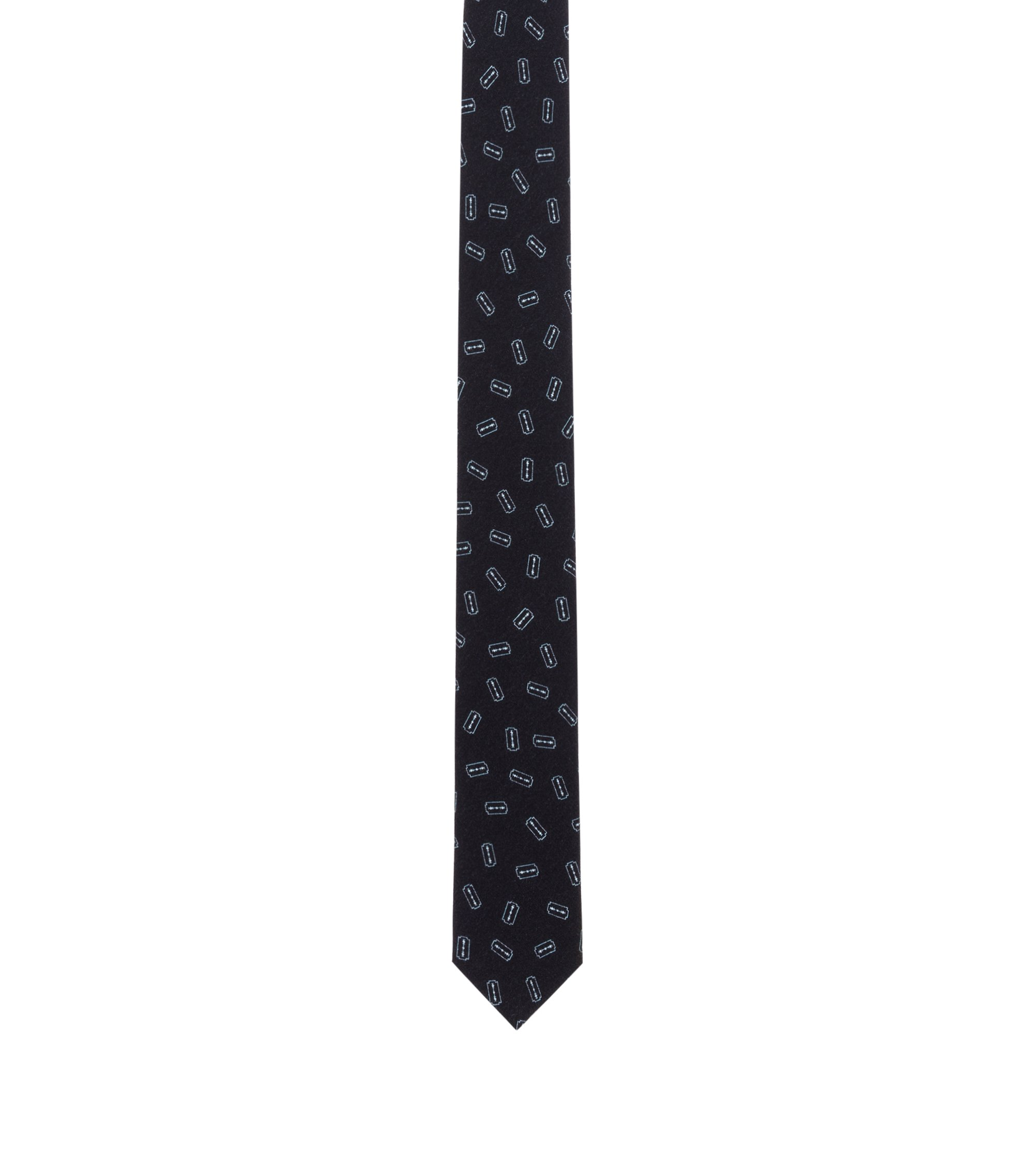 Printed Slim Tie, Black