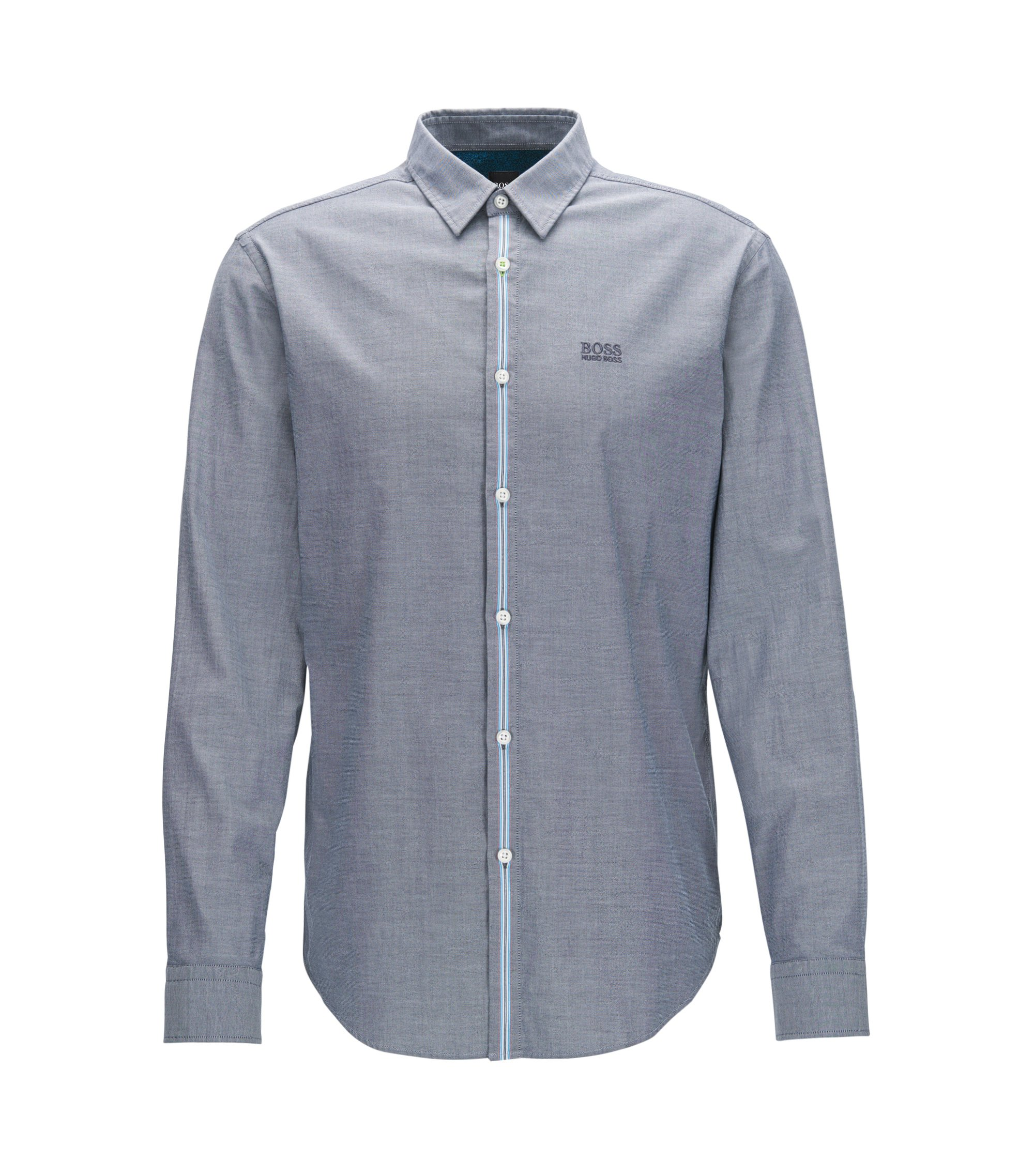 Stretch Cotton Sport Shirt, Regular Fit | Bisto R, Dark Blue