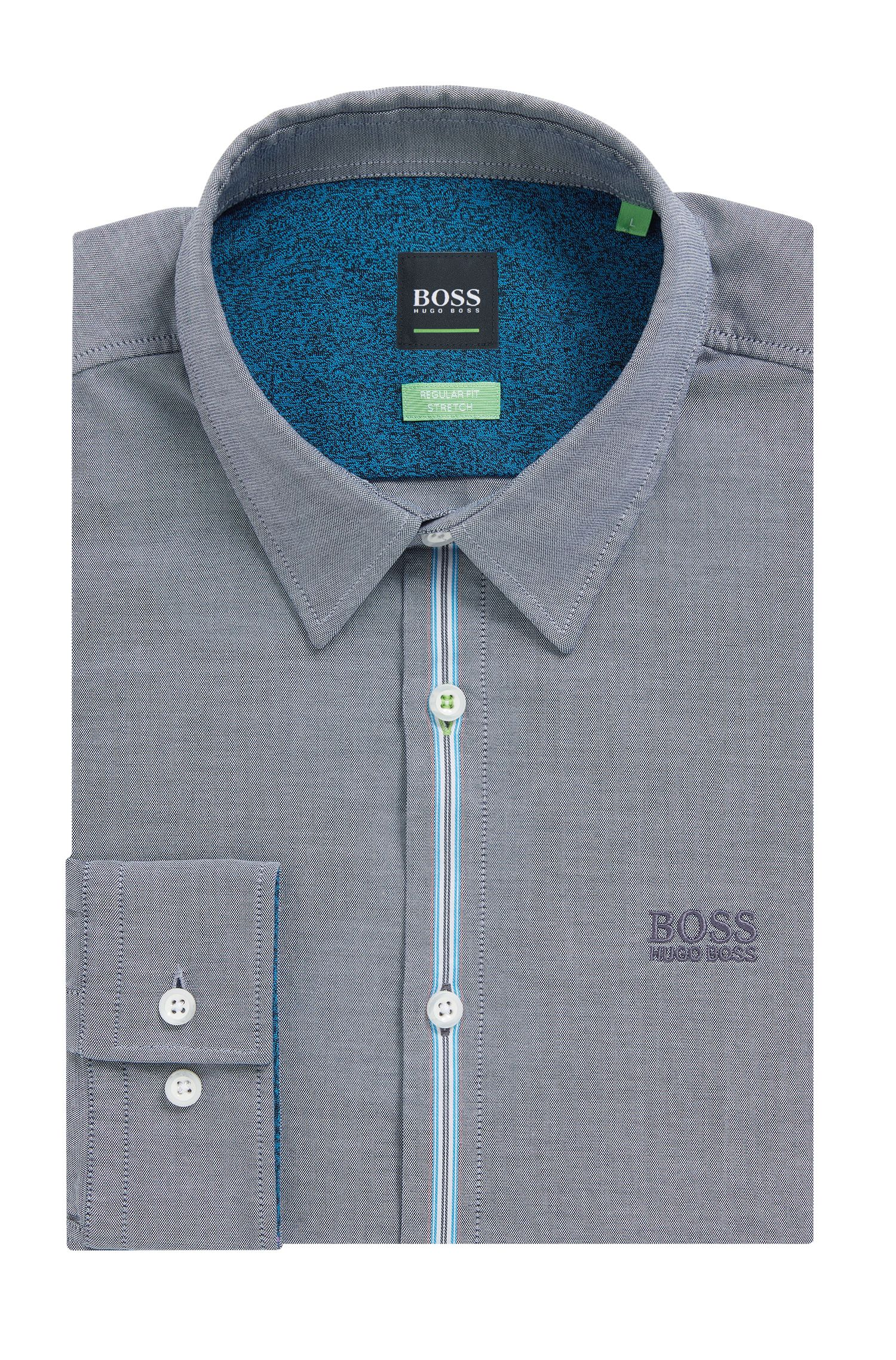 Stretch Cotton Sport Shirt, Regular Fit | Bisto R, Dark Blue