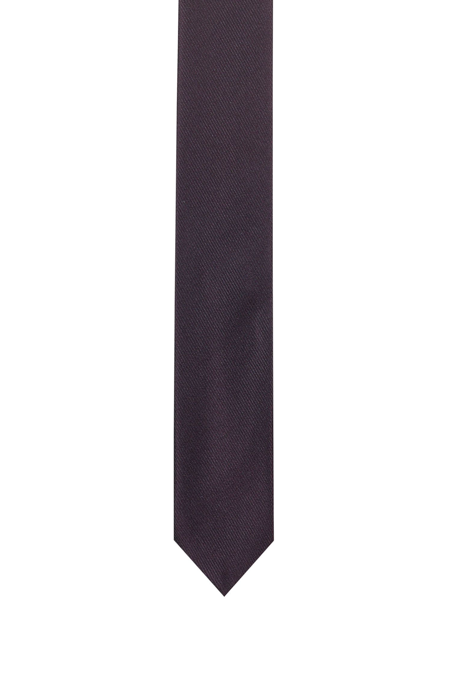 Italian Silk Twill Slim Tie, Dark Red
