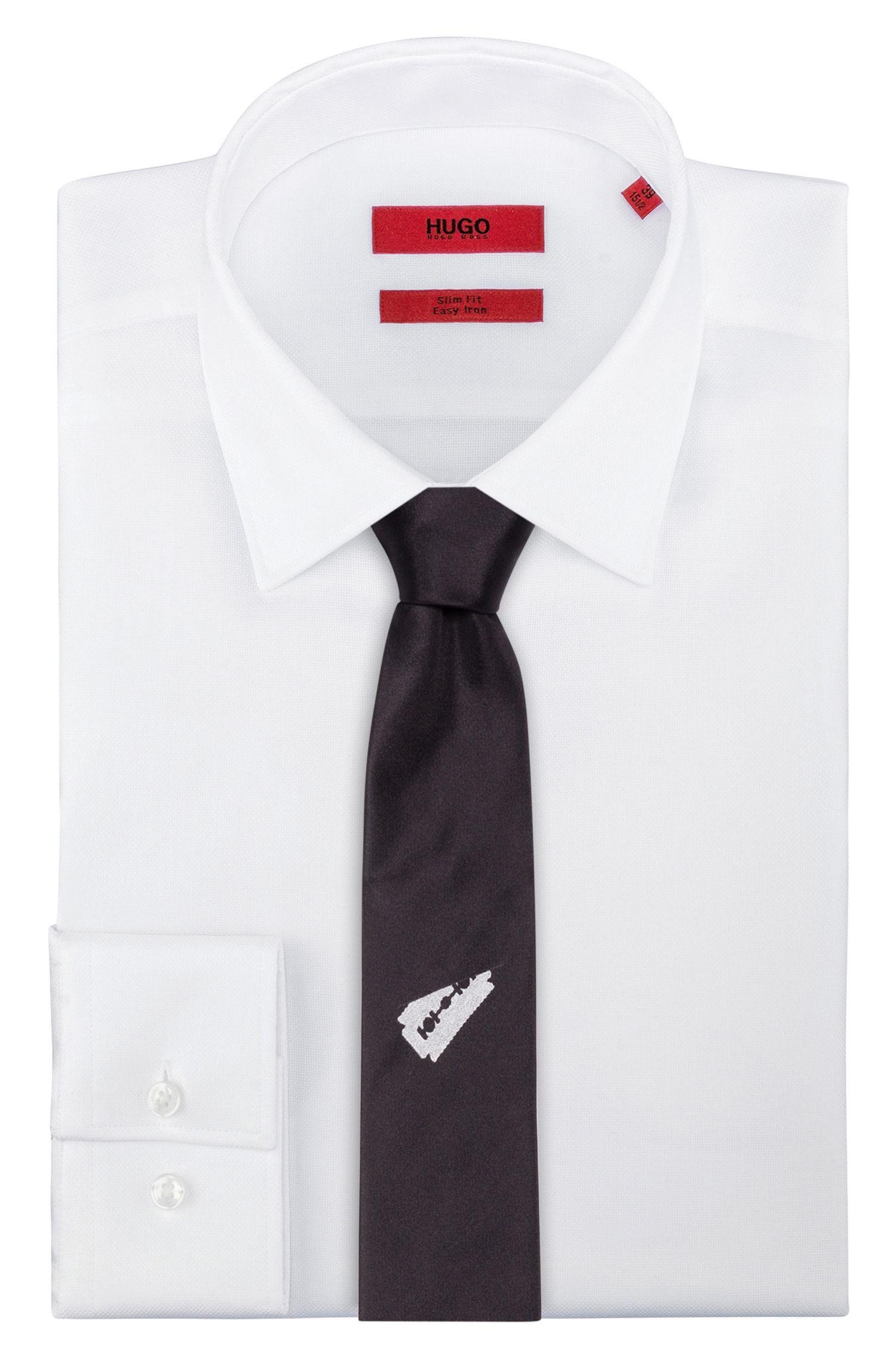 Printed Italian Silk Slim Tie , Black