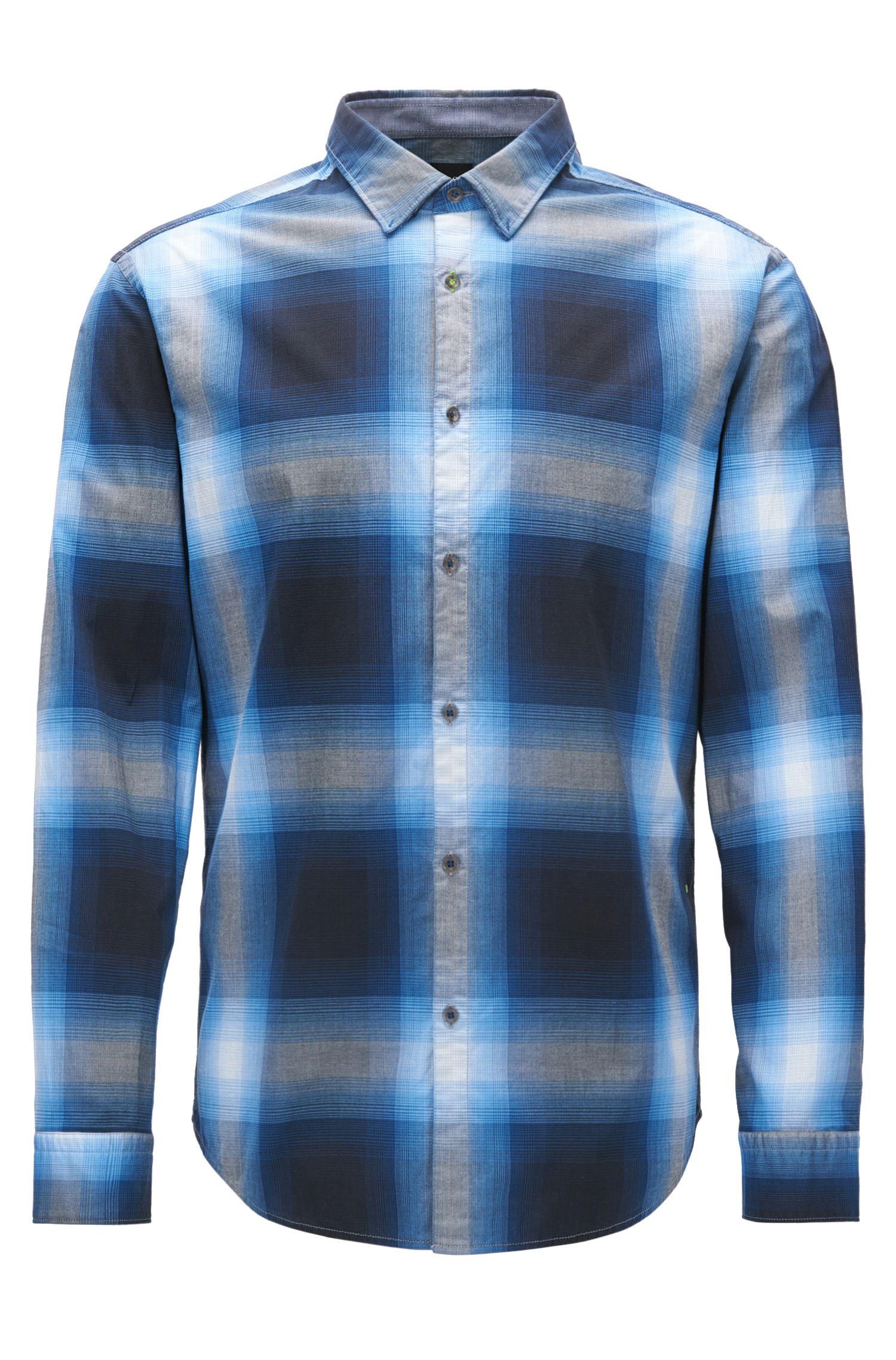 Plaid Stretch Cotton Sport Shirt, Regular Fit | Bailee R, Blue