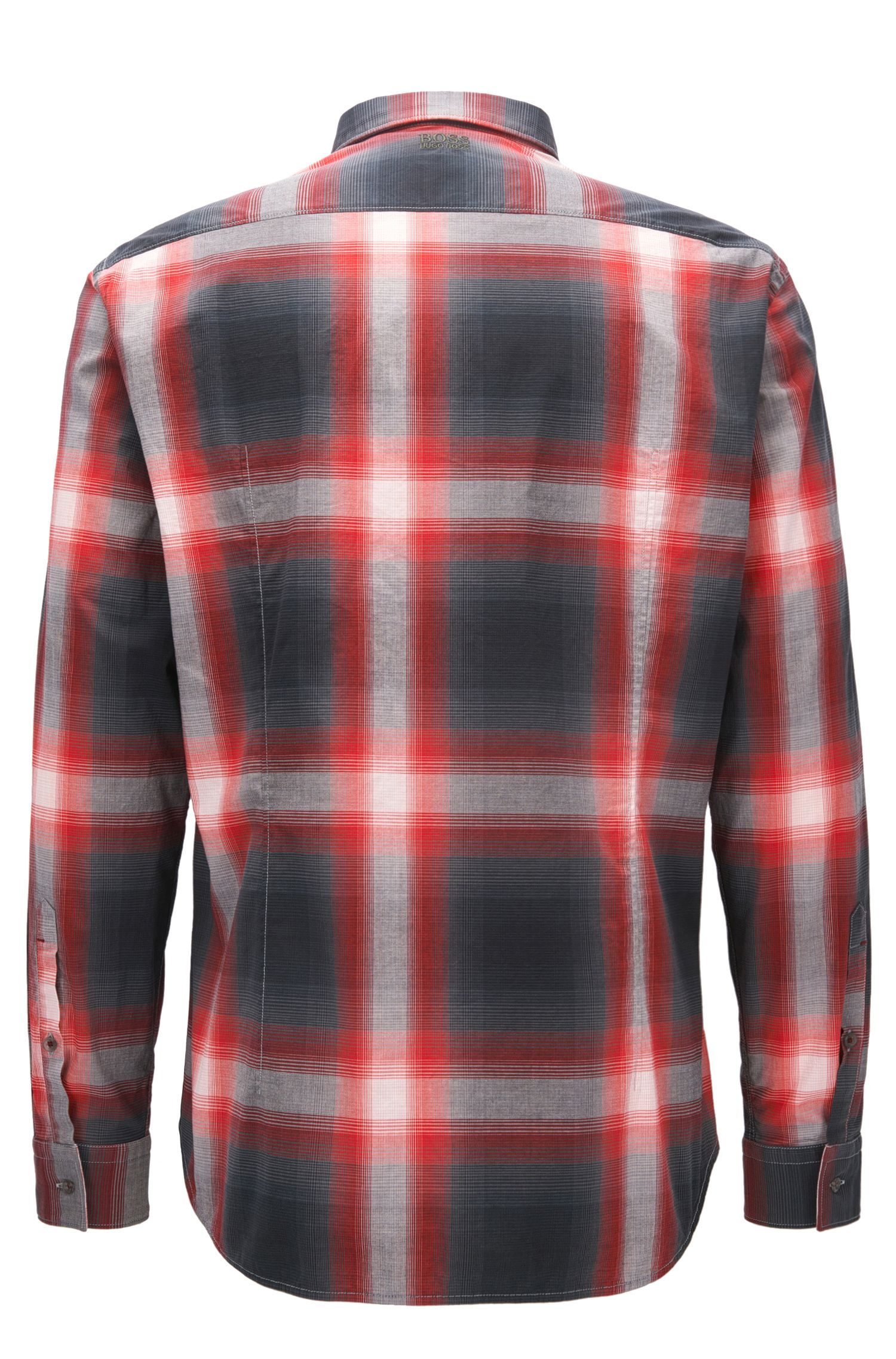 Plaid Stretch Cotton Sport Shirt, Regular Fit | Bailee R, Red
