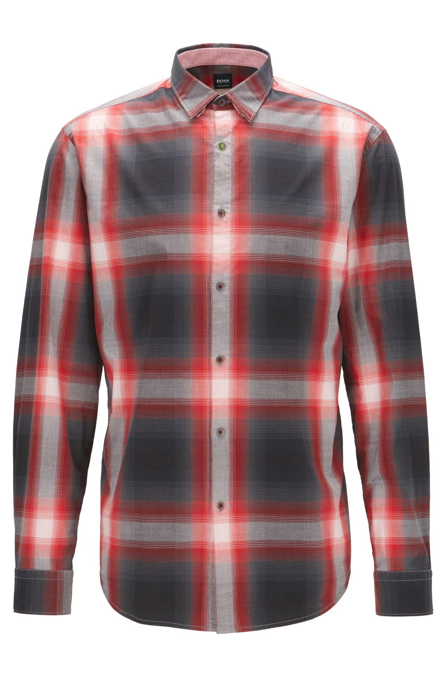 Plaid Stretch Cotton Sport Shirt, Regular Fit   Bailee R