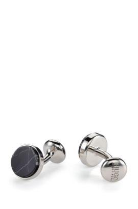 Marble & Brass Cufflinks | E-Marble, Black