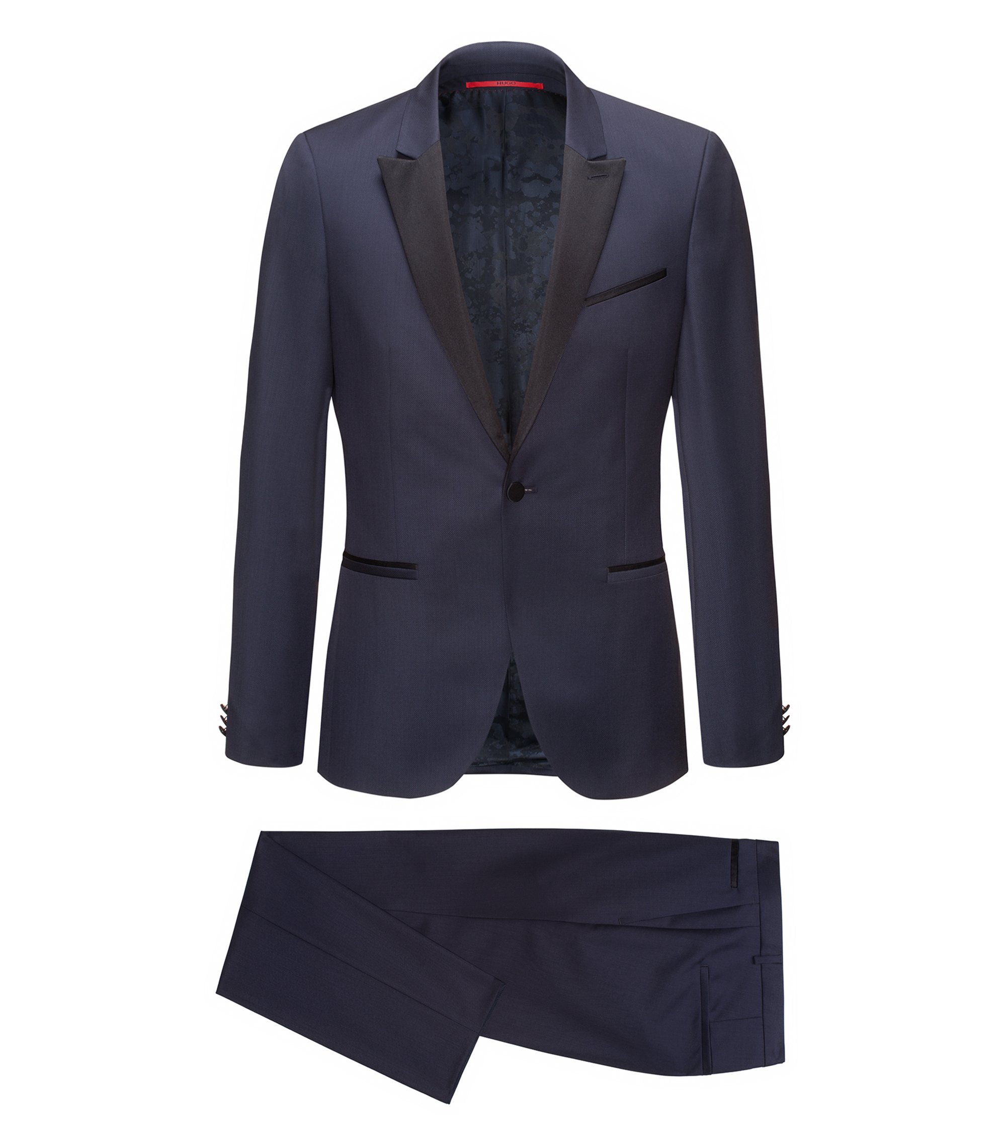 Wool Blend Tuxedo, Extra Slim Fit | Auerd/Himins, Dark Blue