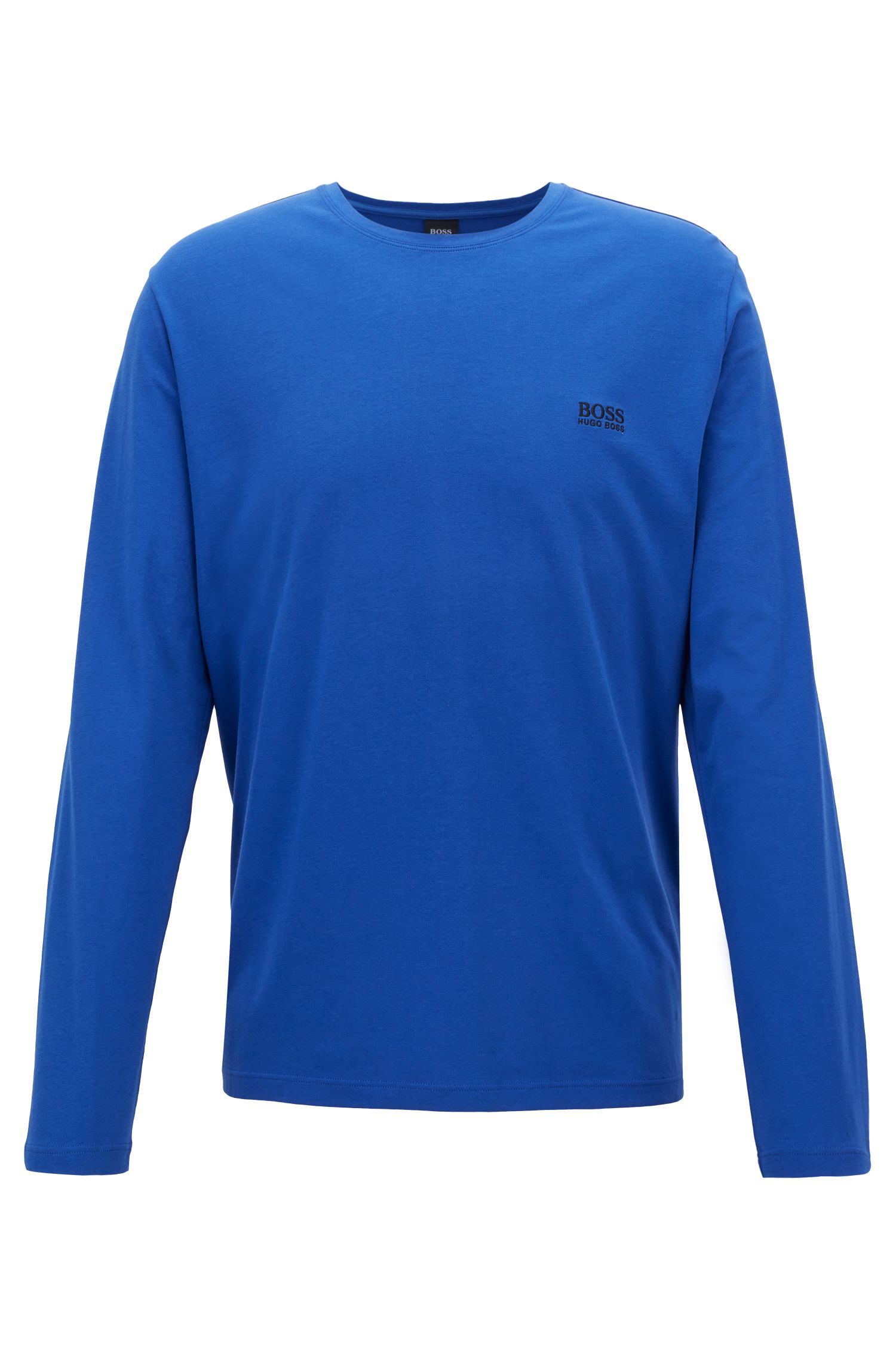 Regular-fit loungewear top in stretch cotton jersey, Open Blue