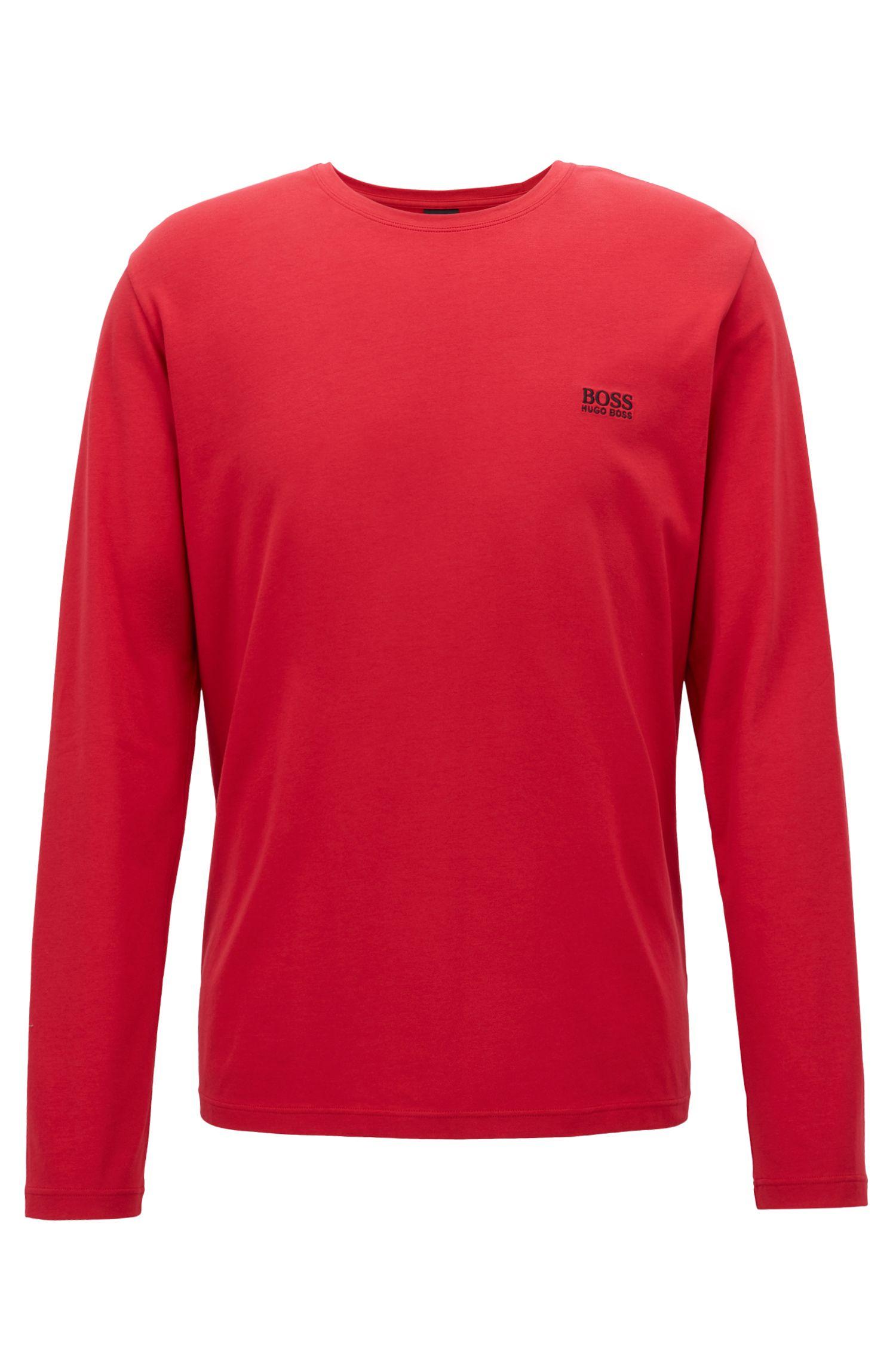 Regular-fit loungewear top in stretch cotton jersey, Dark Red