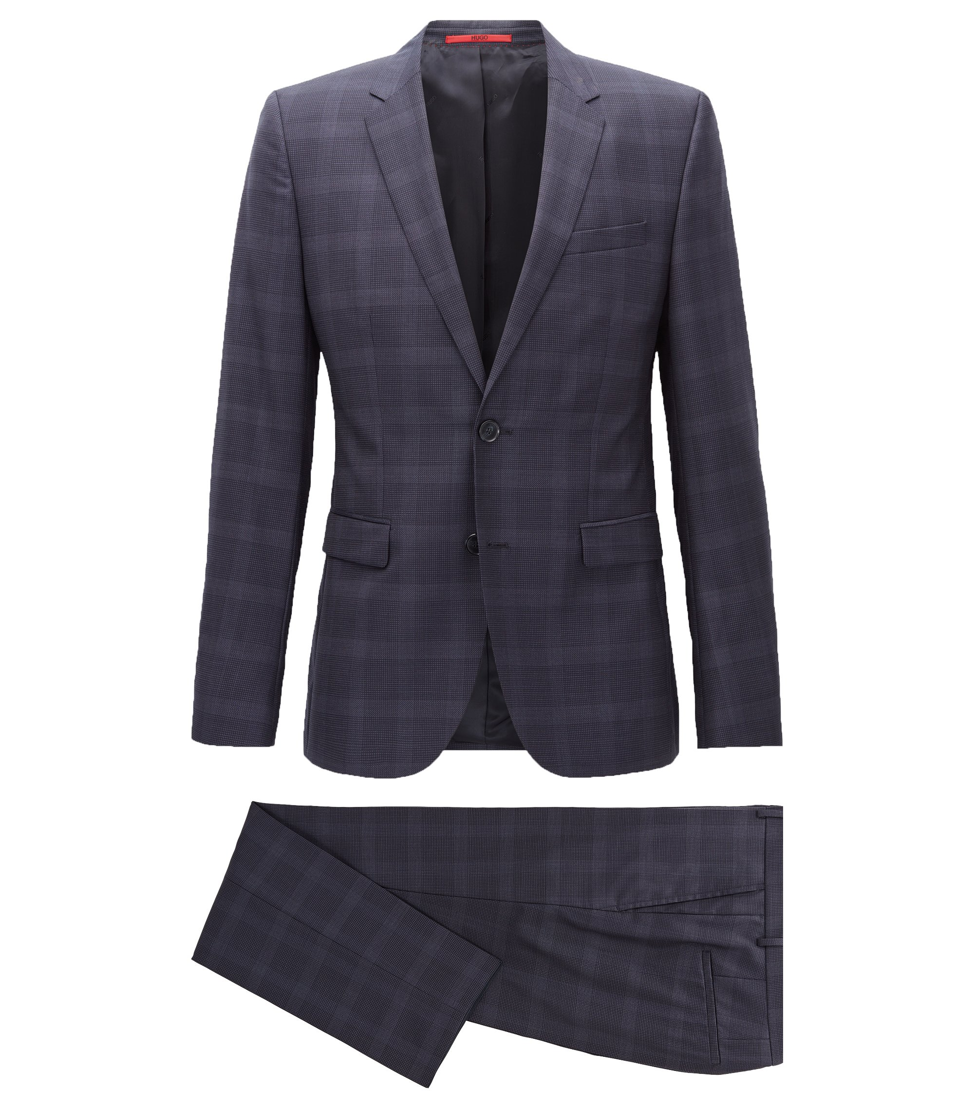 Checked Wool Suit, Extra Slim Fit | Astian/Hets, Dark Blue