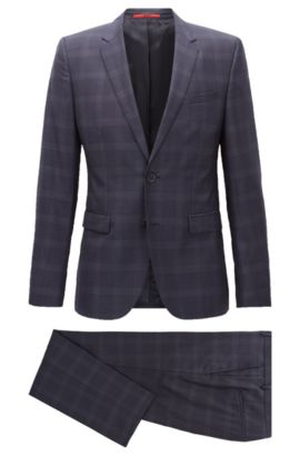 Checked Super 120s Wool Suit, Extra Slim Fit | Astian/Hets, Dark Blue