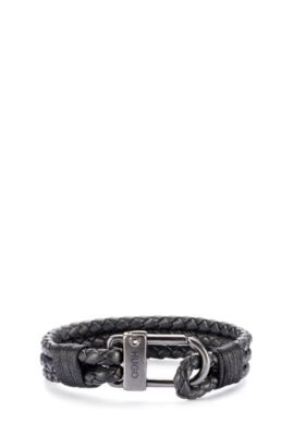 Braided Leather Bracelet | E-Hook, Black