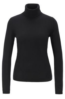 Roll-neck sweater in mercerized Merino wool, Black