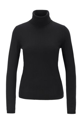 Roll-neck sweater in mercerized Merino wool, Black