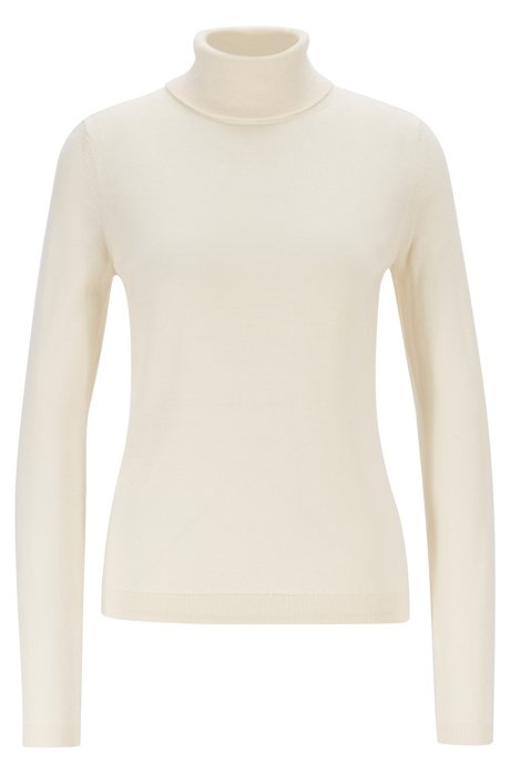 Roll-neck sweater in mercerized Merino wool, Natural