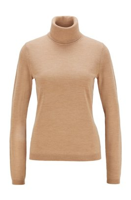 Roll-neck sweater in mercerized Merino wool, Light Brown