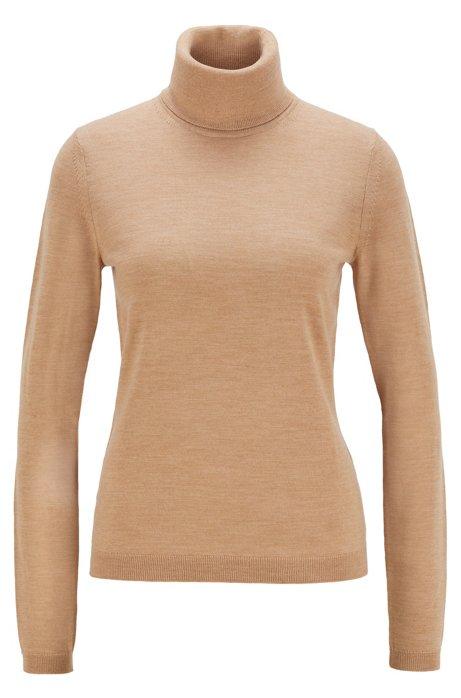 Roll-neck sweater in mercerized Merino wool, Light Brown