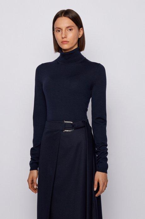 Roll-neck sweater in mercerized Merino wool, Open Blue