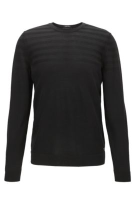 Tonal Striped Stretch Extra-Fine Merino Sweater | Poggino, Black