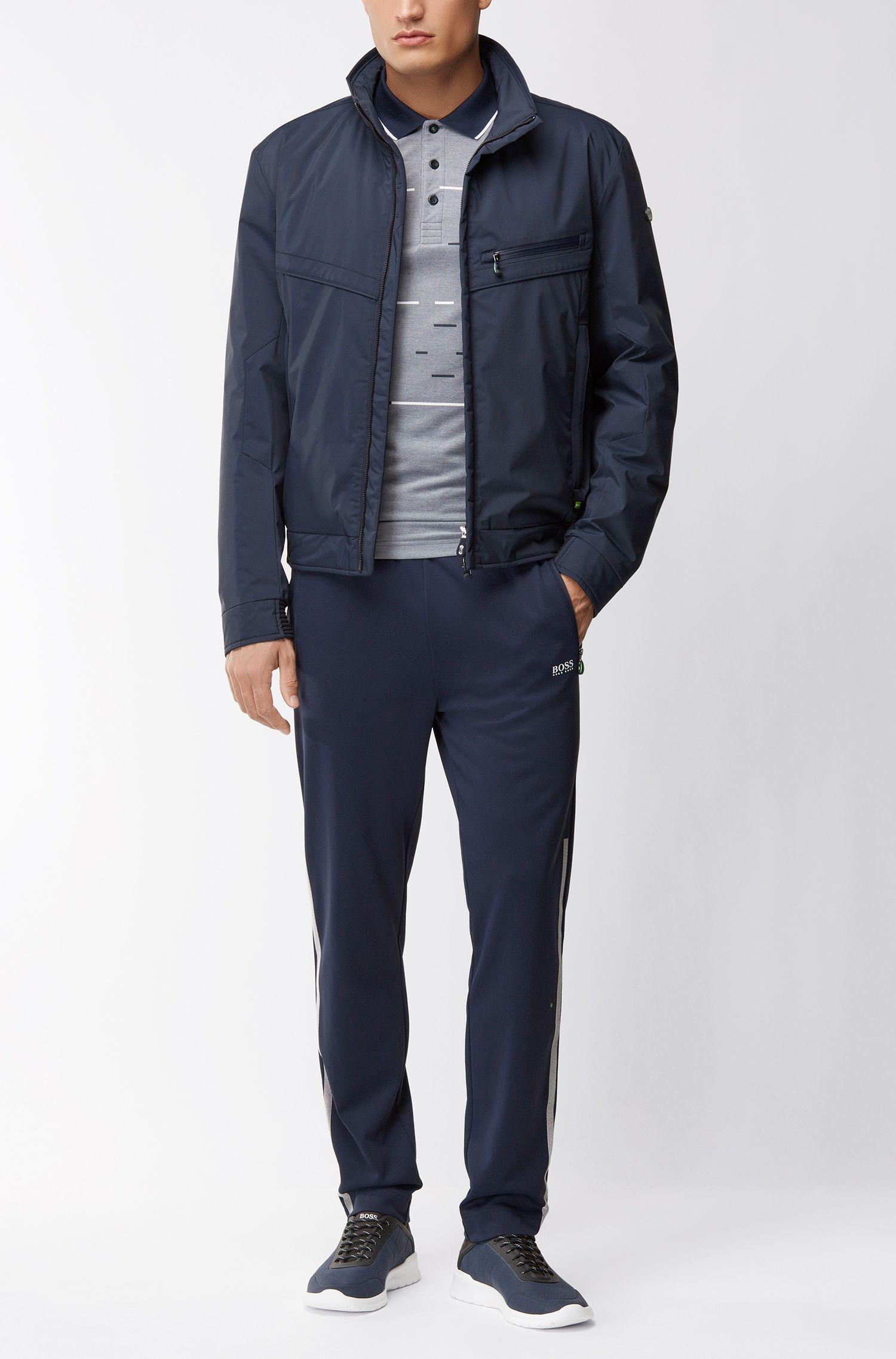 Cotton Blend Polo Shirt, Slim Fit | Paule, Dark Blue