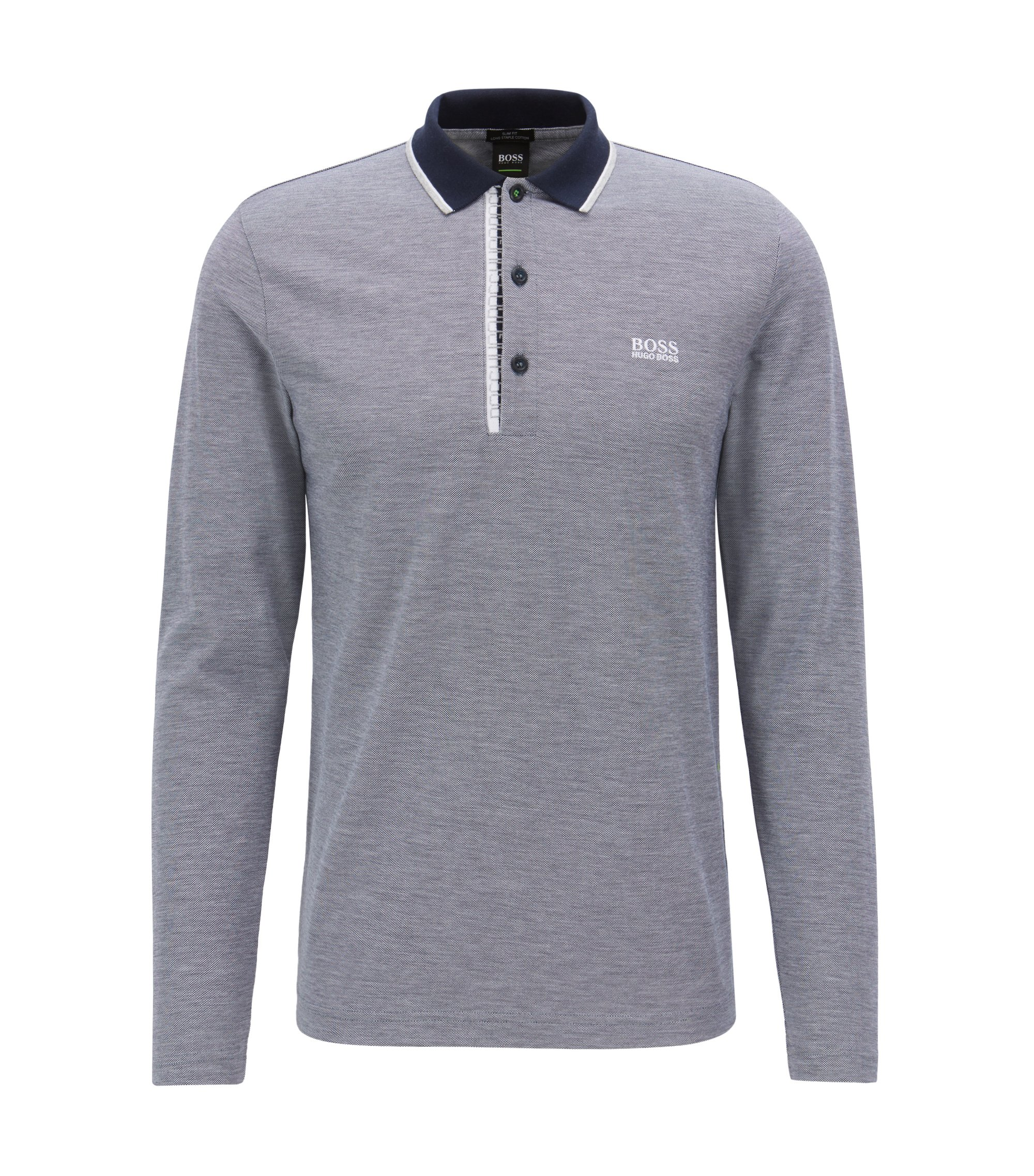 Long-sleeved polo shirt in cotton with logo detail, Dark Blue