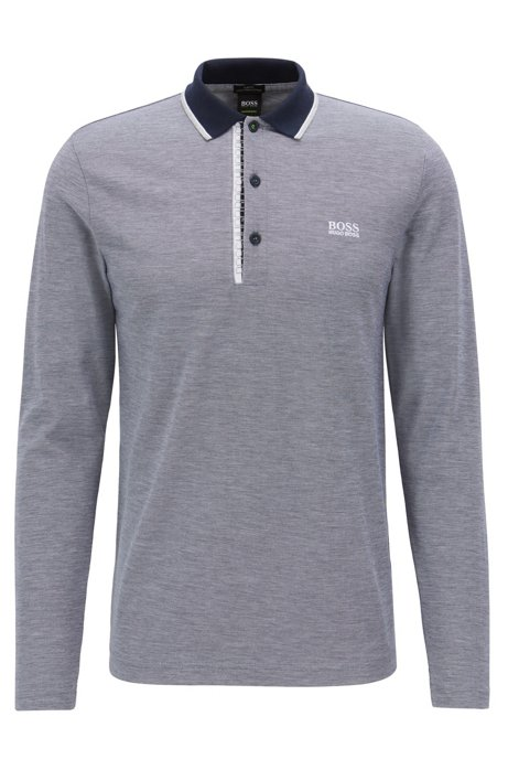 9e0590133 BOSS - Long-sleeved polo shirt in cotton with logo detail