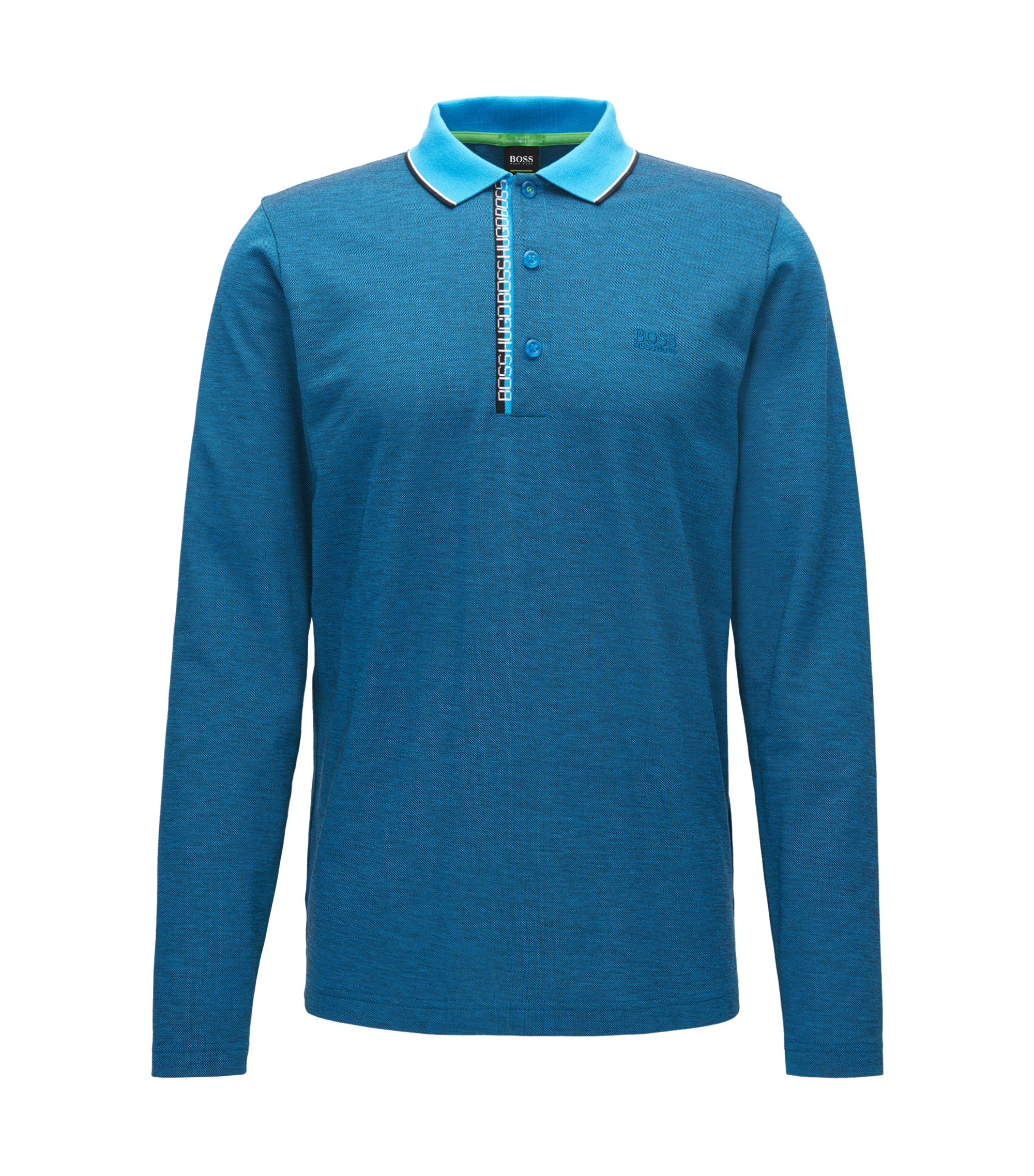 Contrast Cotton Polo Shirt, Slim Fit | Pleesy, Open Blue