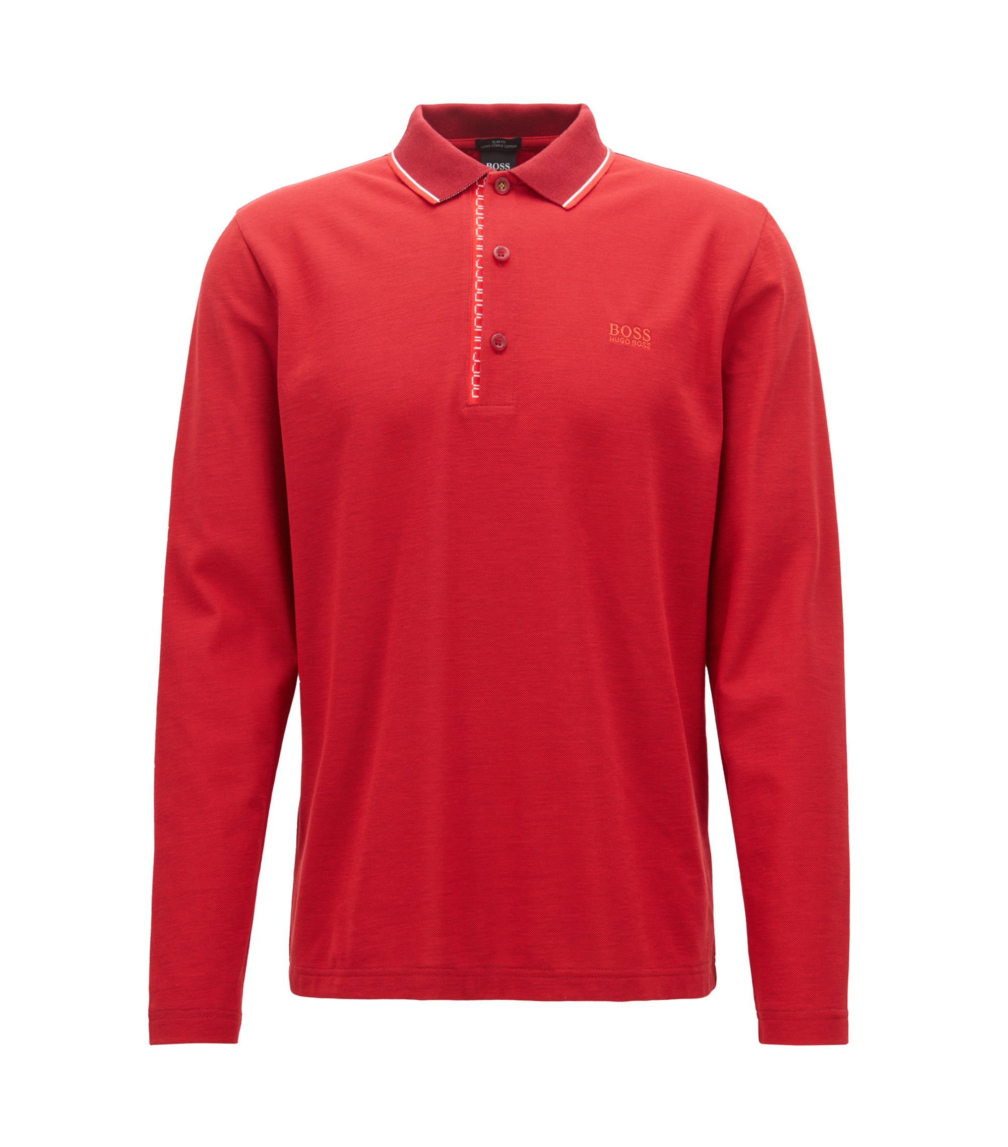 Long-sleeved polo shirt in cotton with logo detail, Dark Red