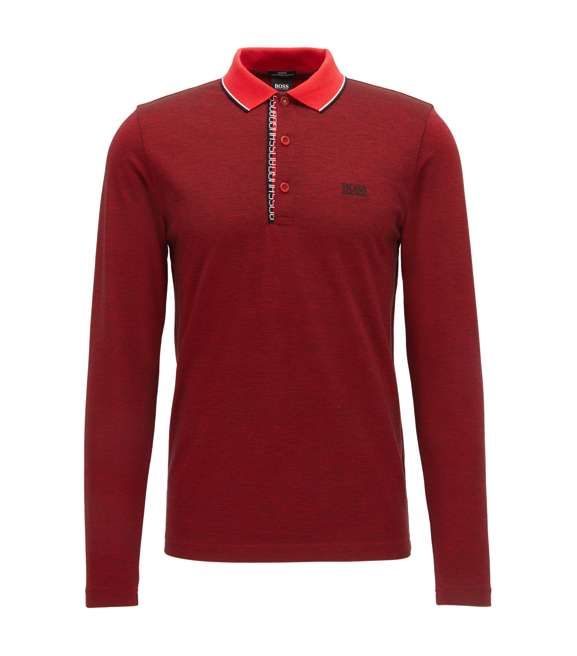 Contrast Cotton Polo Shirt, Slim Fit | Pleesy, Red