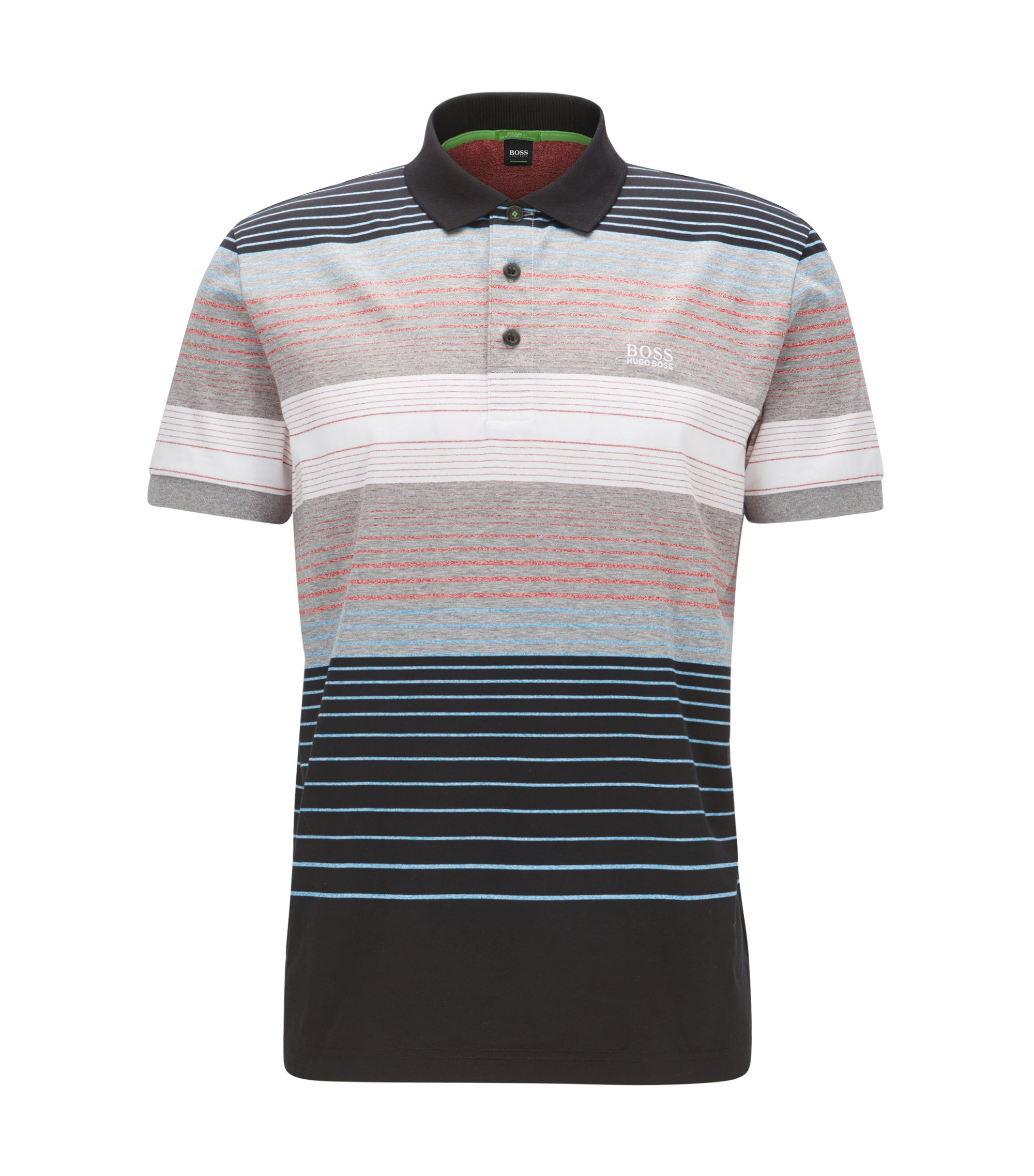 Striped Colorblocked Cotton Polo Shirt, Slim Fit | Paddy, Black