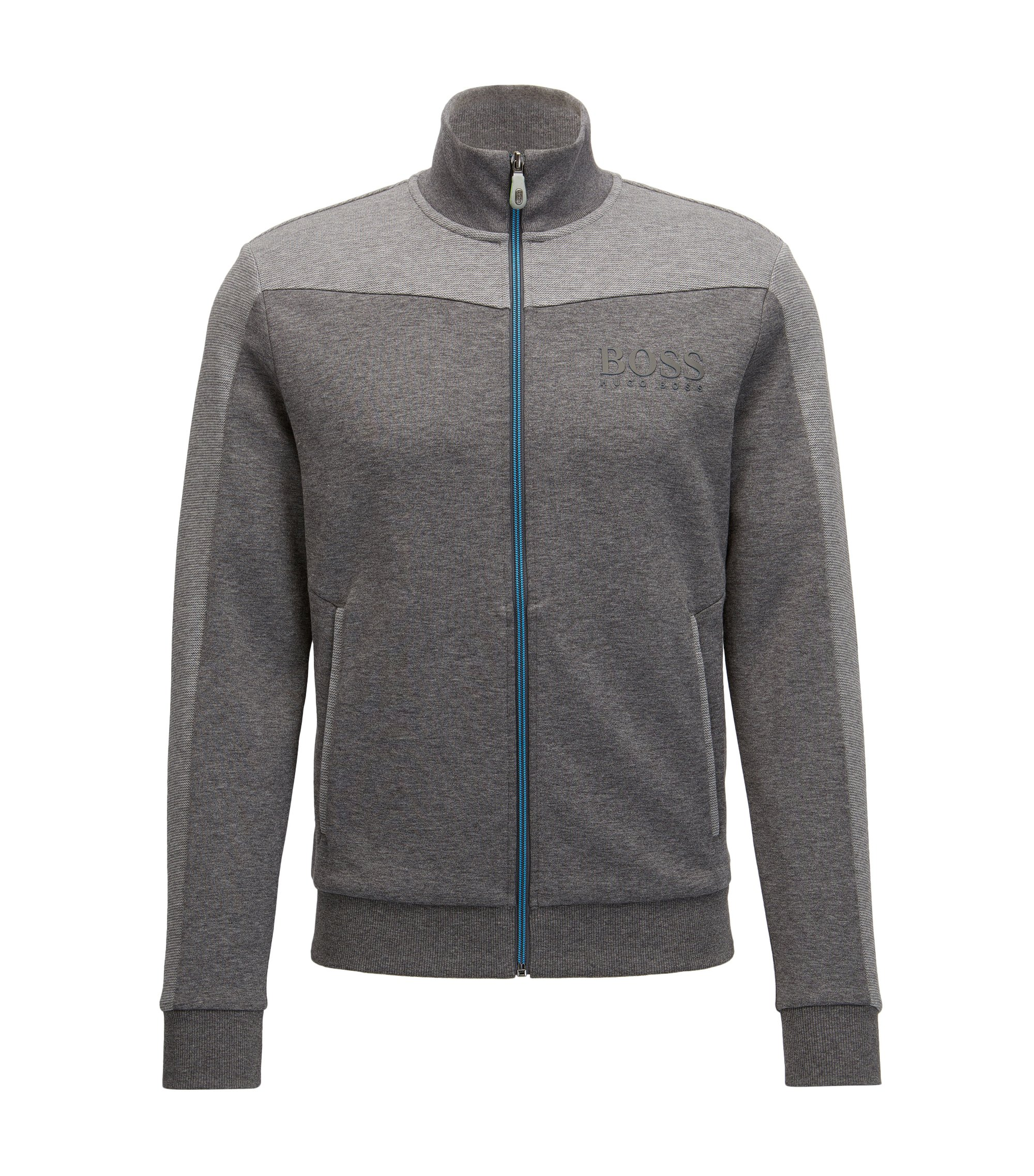 Cotton Blend Full-Zip Jacket | Skaz, Grey