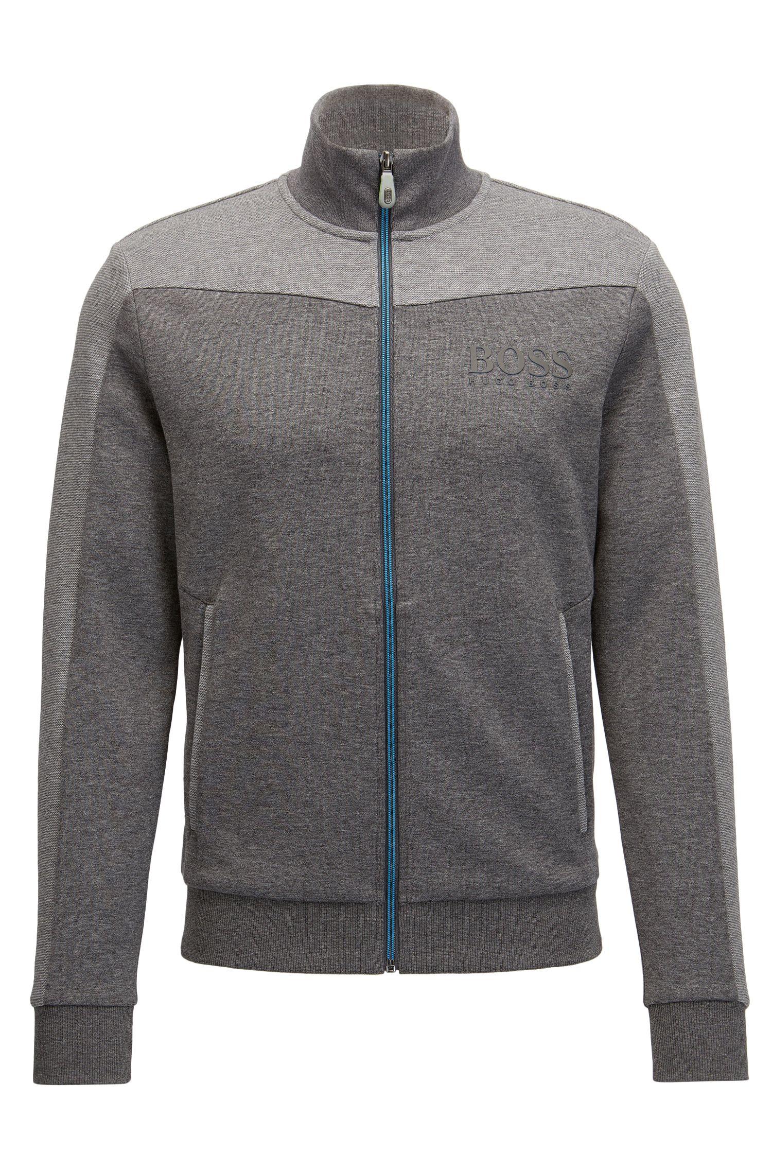 Cotton Blend Full-Zip Jacket | Skaz, Grey