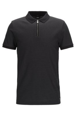Jacquard Mercerized Cotton Polo Shirt, Slim Fit | Polston, Black