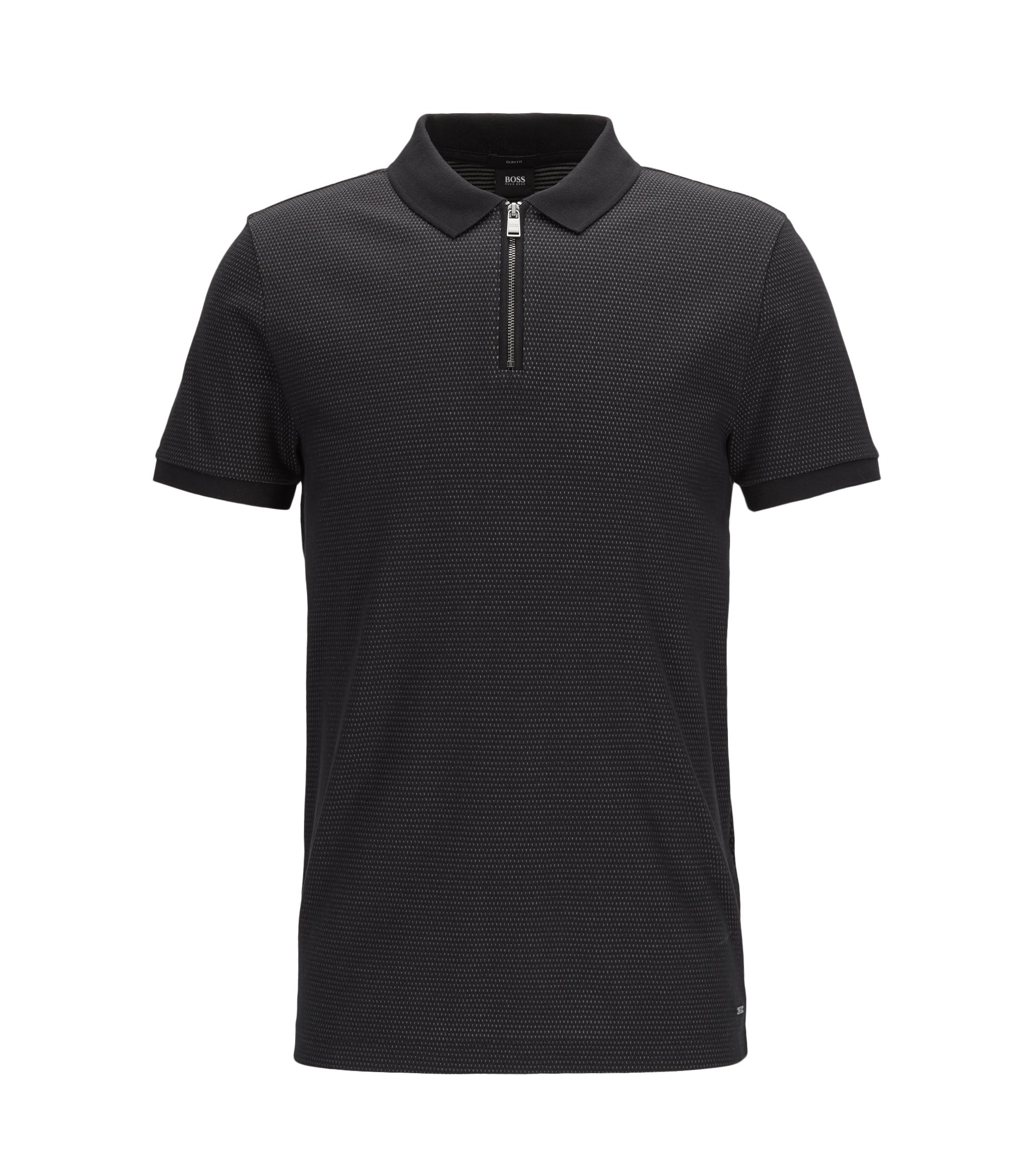 Jacquard Mercerized Cotton Polo Shirt, Slim Fit | Polston, Black