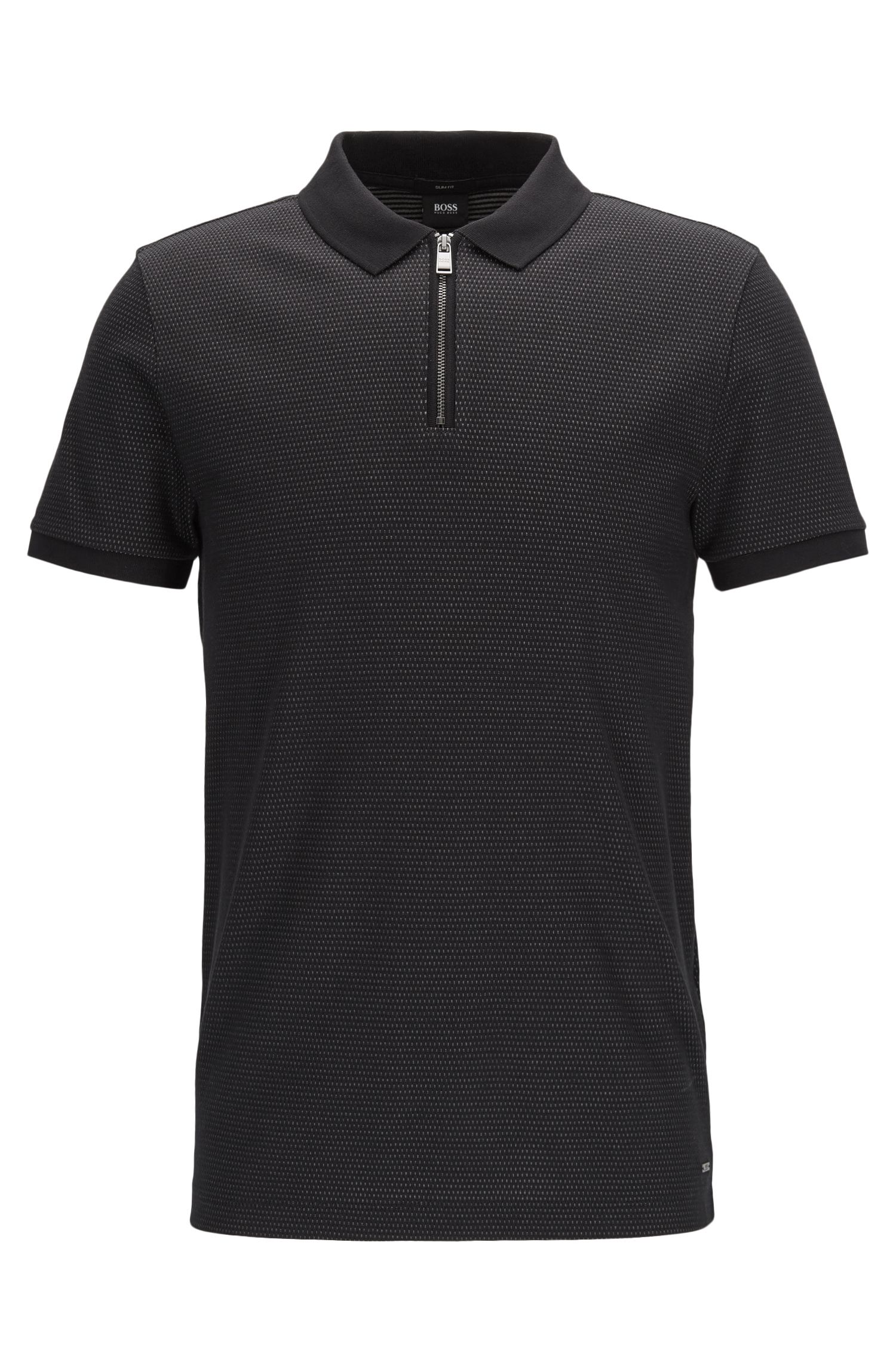 Jacquard Mercerized Cotton Polo Shirt, Slim Fit | Polston
