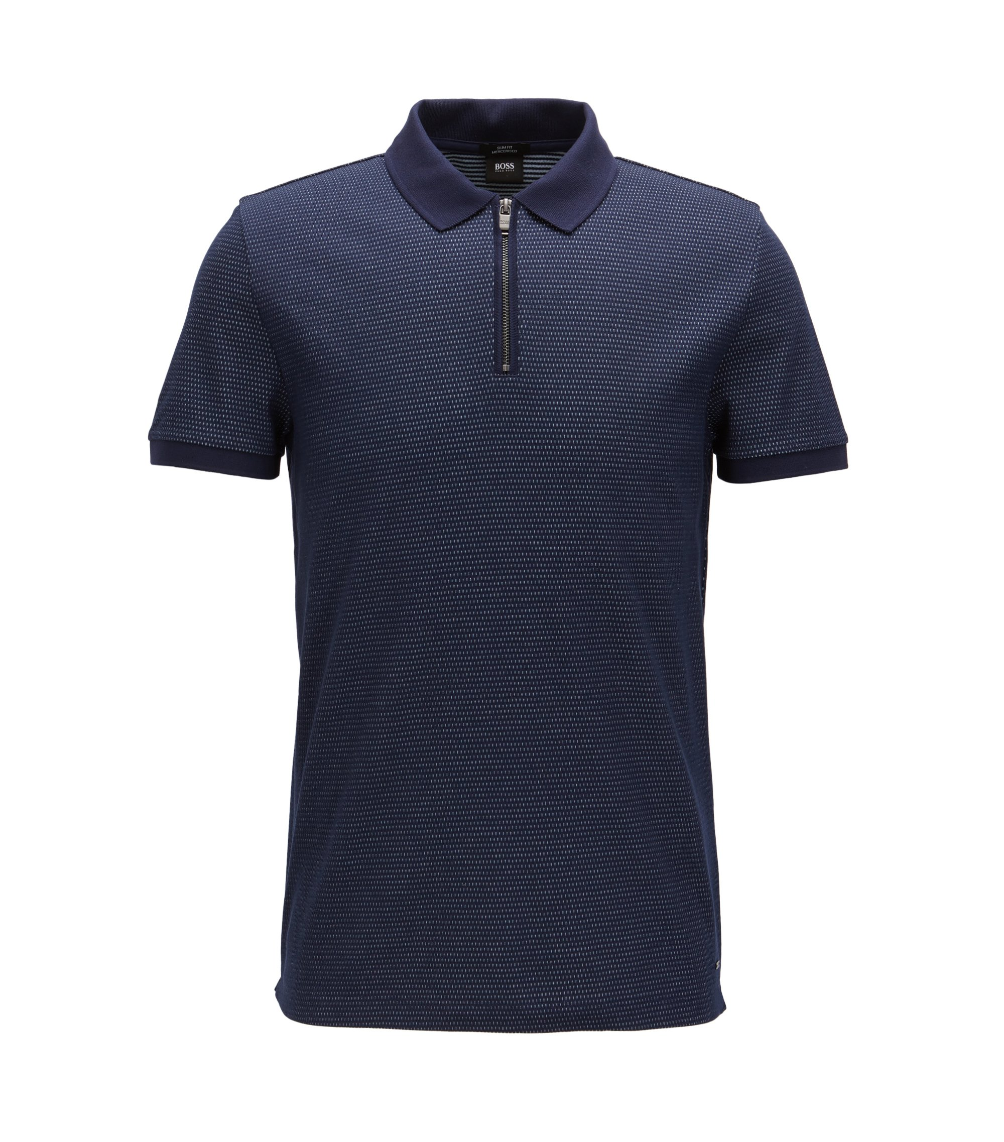 Jacquard Mercerized Cotton Polo Shirt, Slim Fit | Polston, Dark Blue