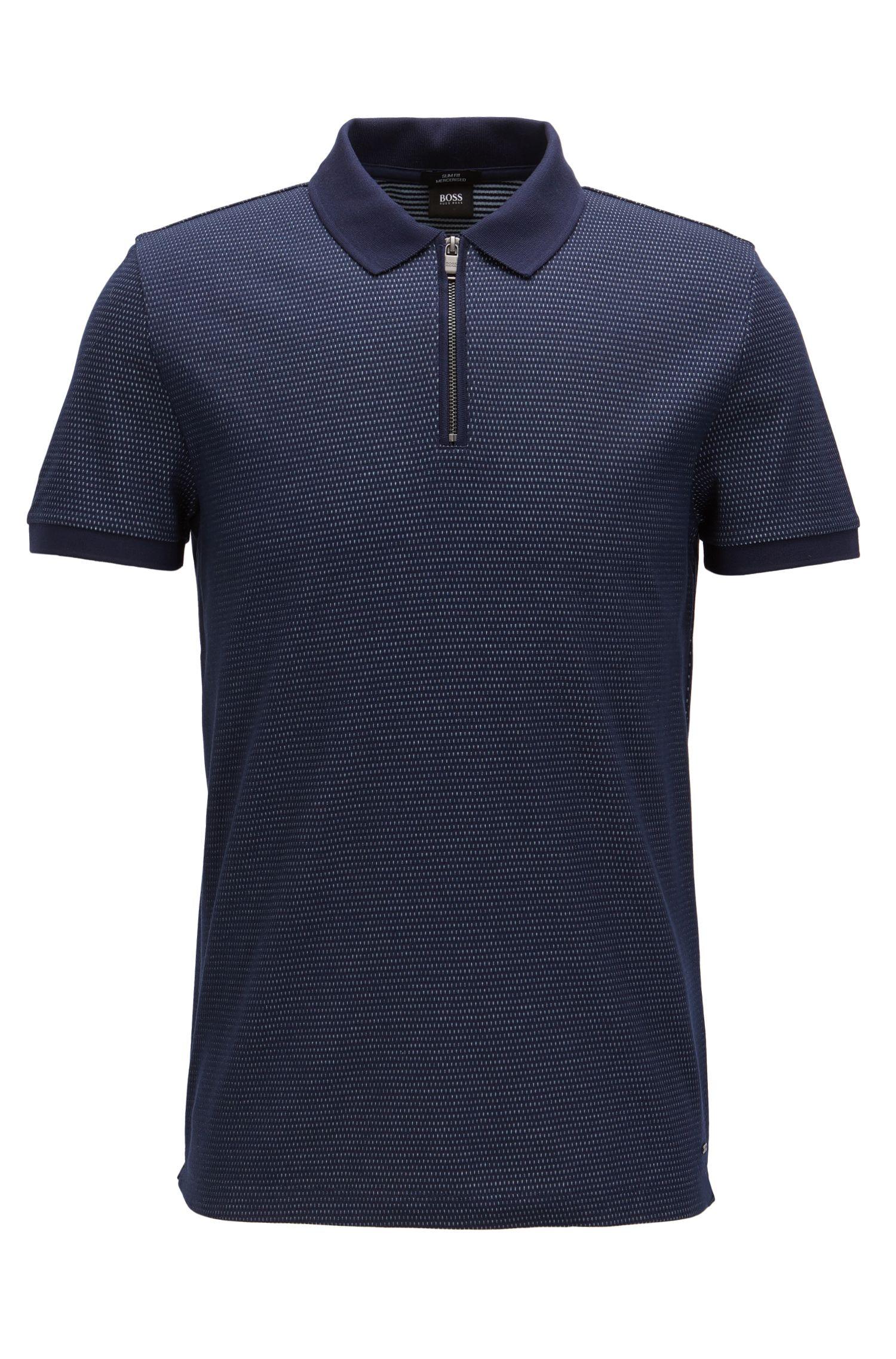 Jacquard Mercerized Cotton Polo Shirt, Slim Fit | Polston