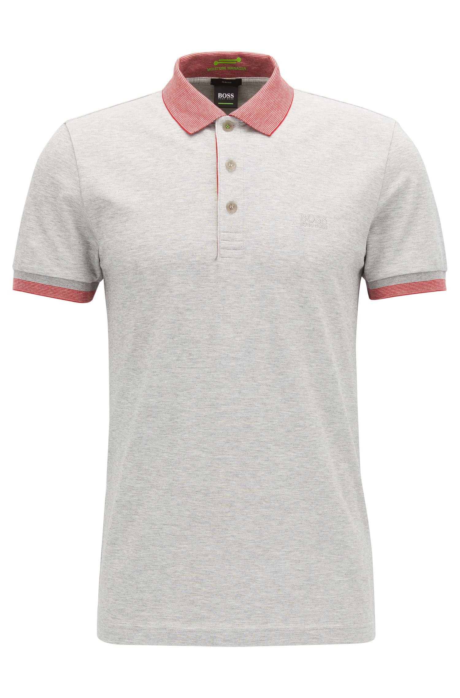 Stretch Cotton Polo Shirt, Slim Fit | Paule, Light Grey