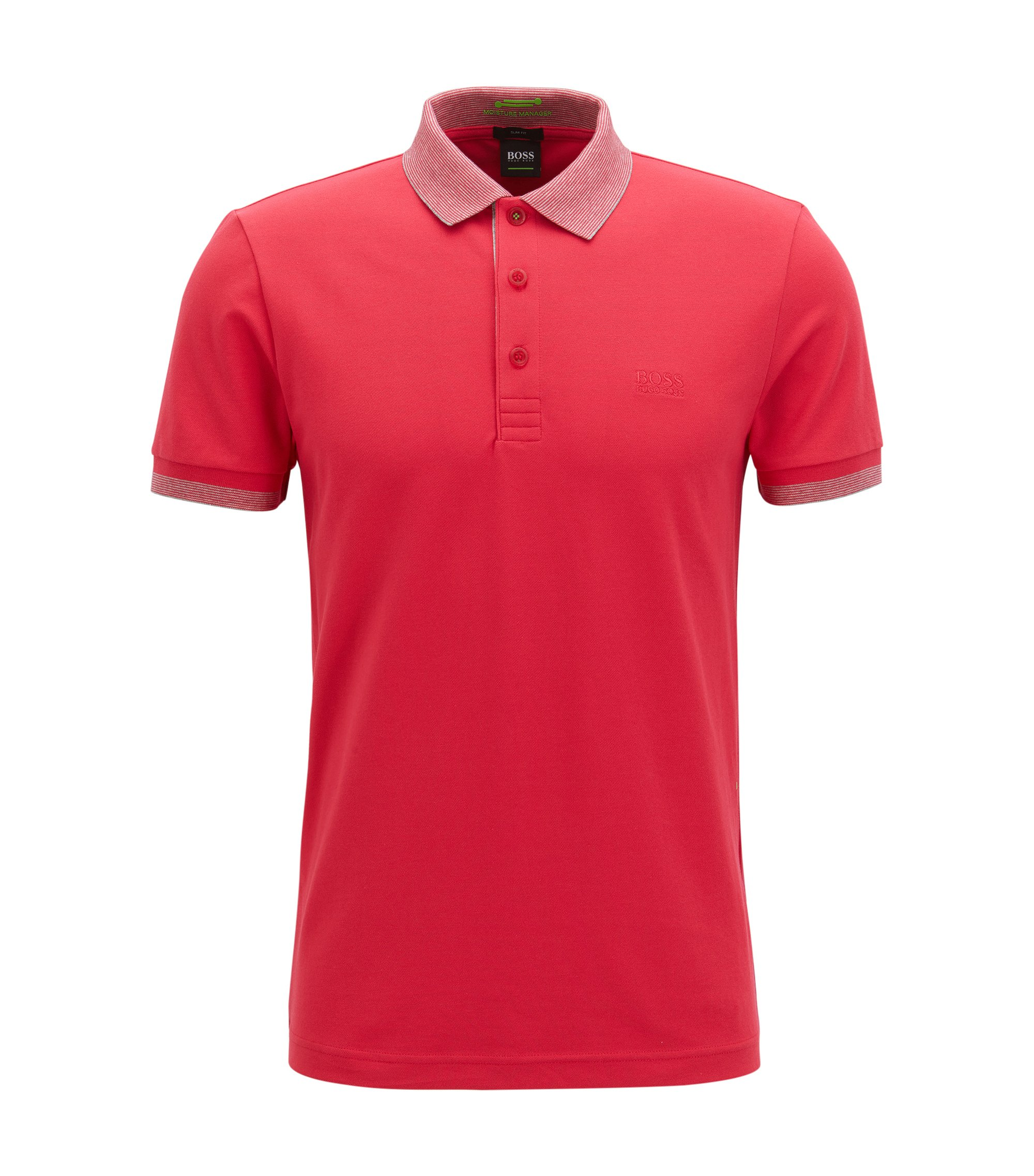 Stretch Cotton Polo Shirt, Slim Fit | Paule, Pink