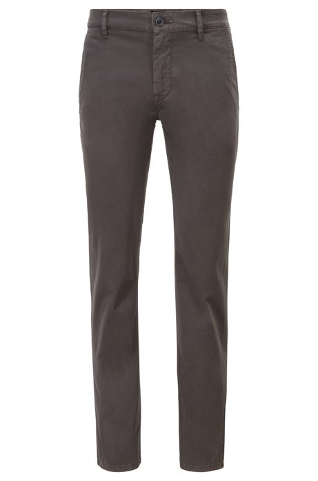 Slim-fit casual chinos in brushed stretch cotton, Charcoal