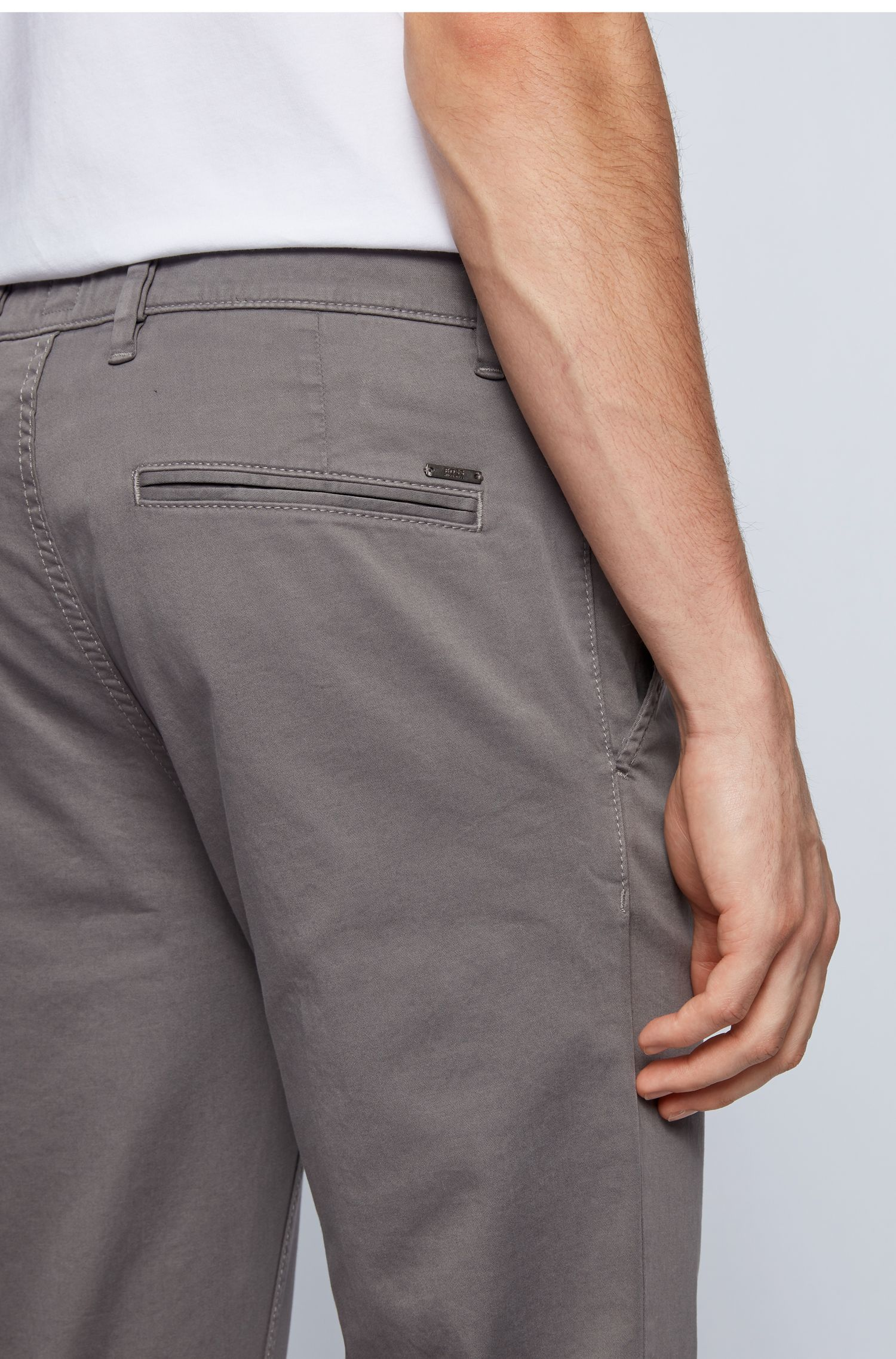 Slim-fit casual chinos in brushed stretch cotton, Dark Grey