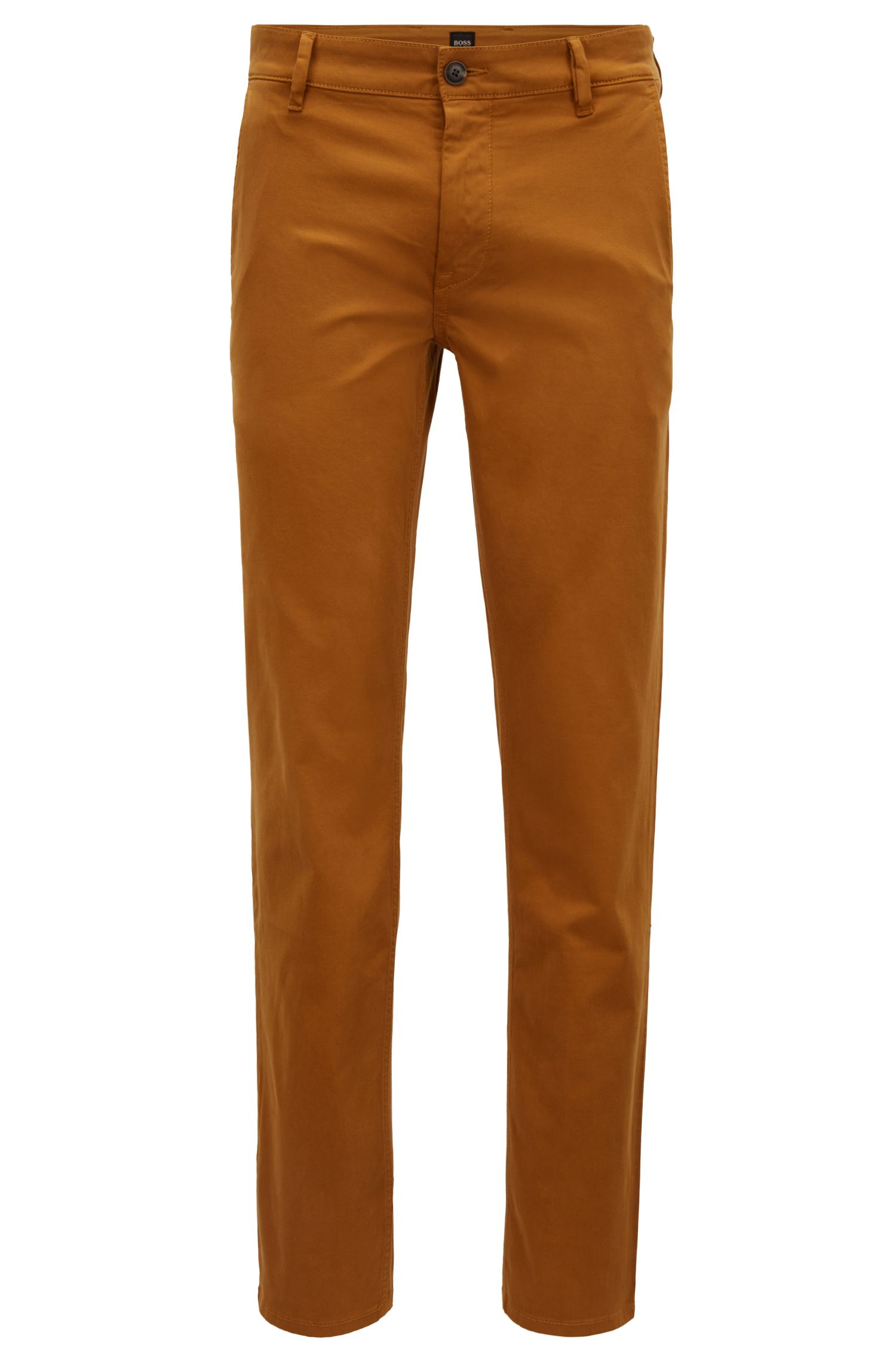 Slim-fit casual chinos in brushed stretch cotton, Brown