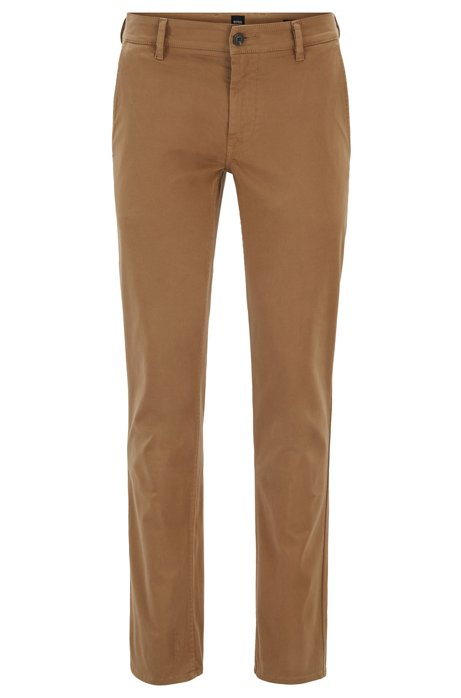 Slim-fit casual chinos in brushed stretch cotton, Open Beige