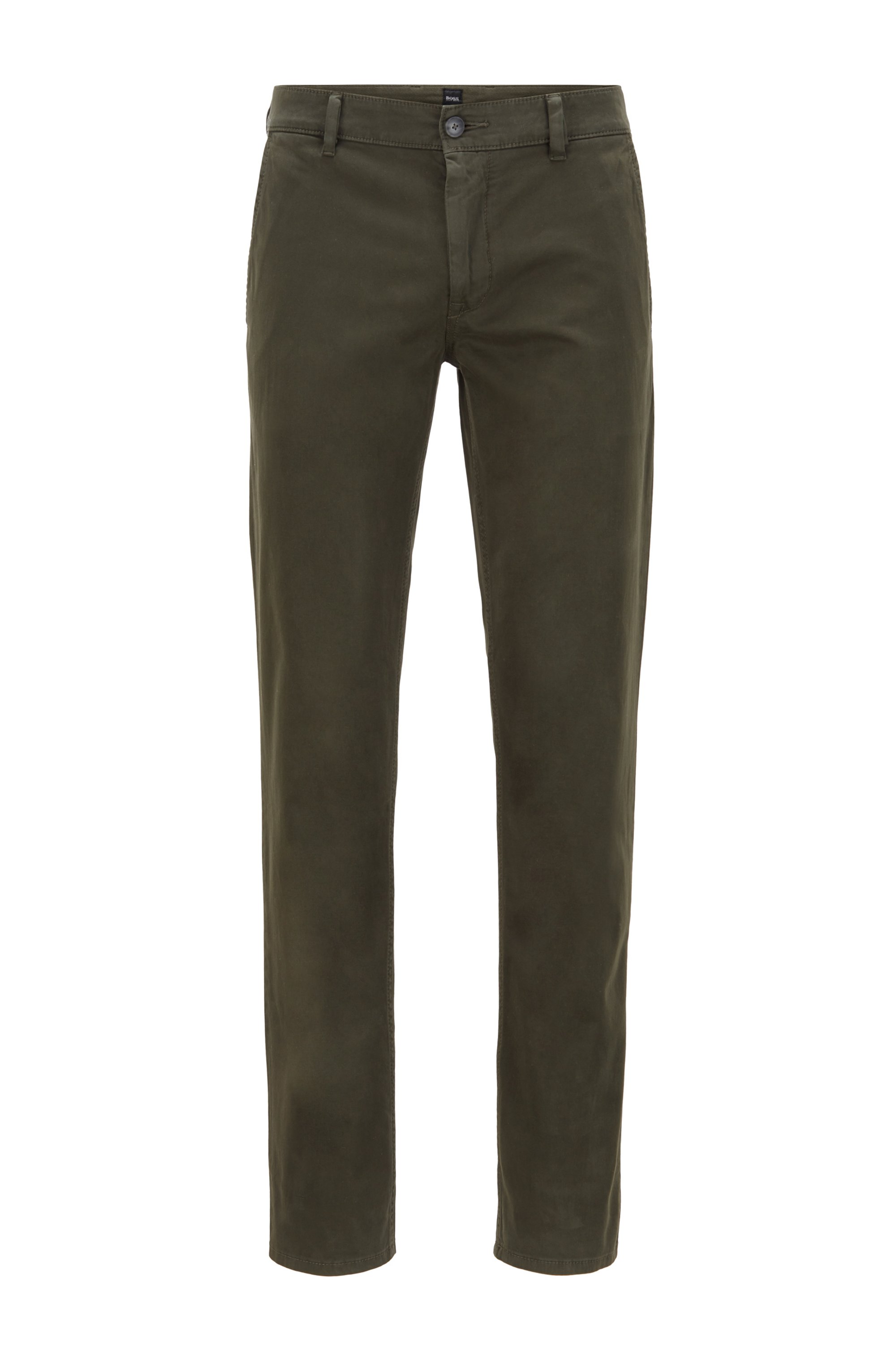 Slim-fit casual chinos in brushed stretch cotton, Light Green
