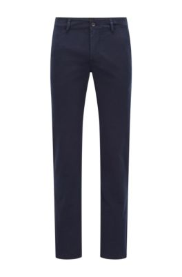 Slim-fit casual chinos in brushed stretch cotton, Dark Blue