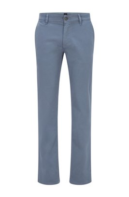 Slim-fit casual chinos in brushed stretch cotton, Light Blue