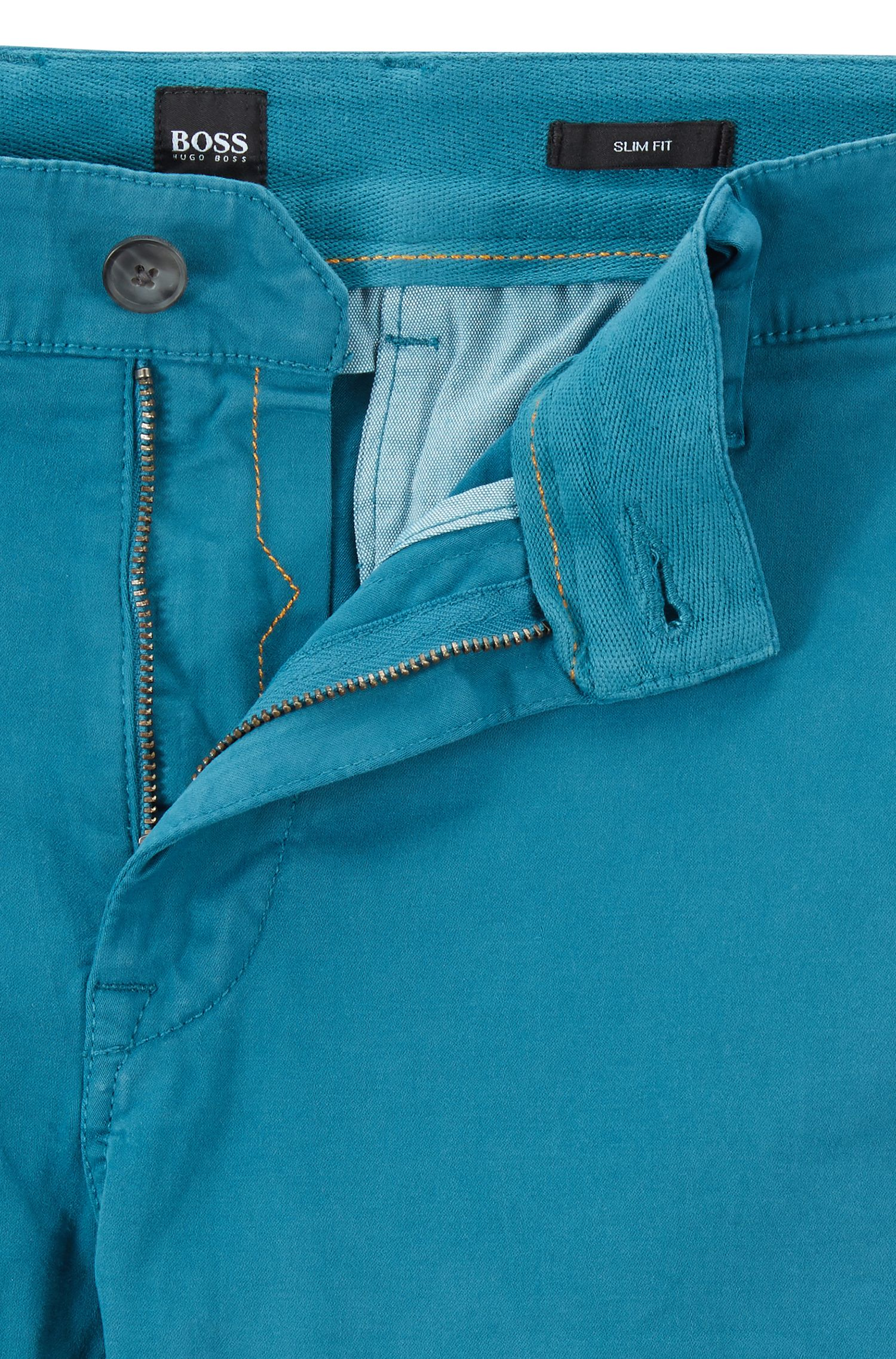 Slim-fit casual chinos in brushed stretch cotton, Open Blue