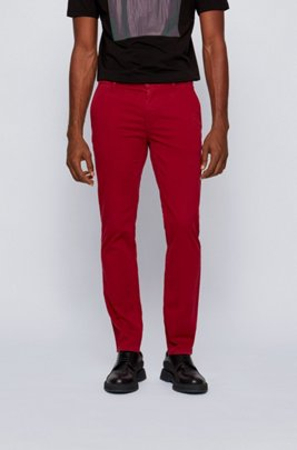 Slim-fit casual chinos in brushed stretch cotton, Dark Red
