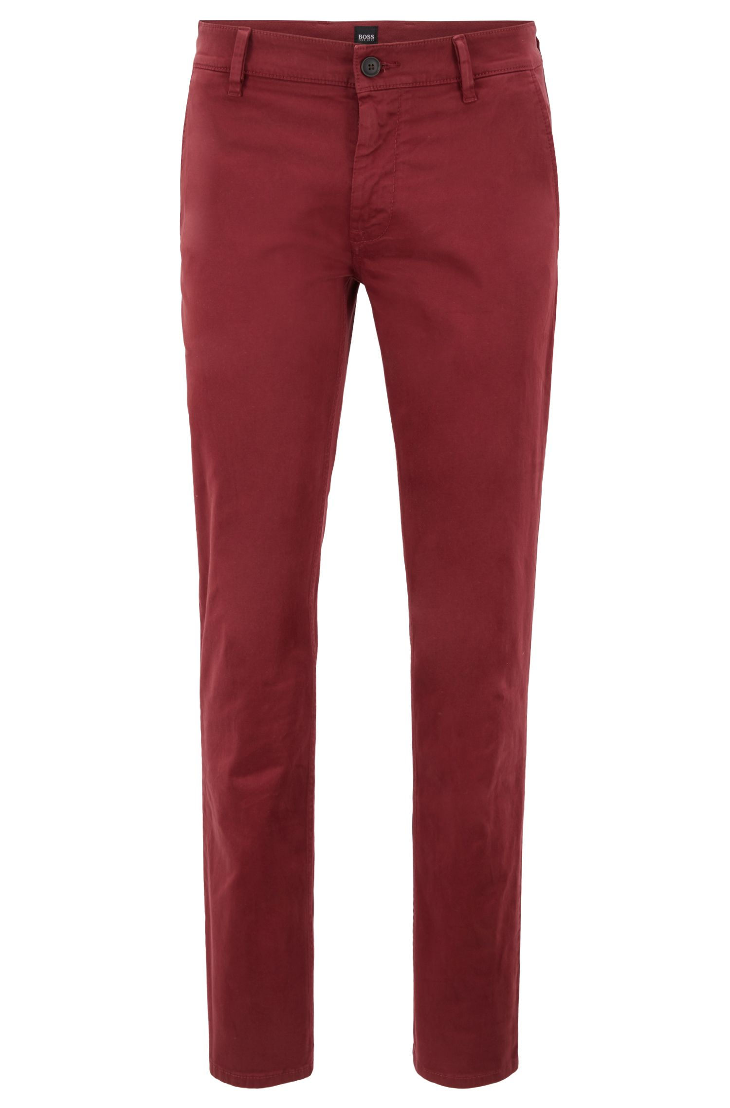 Slim-fit casual chinos in brushed stretch cotton, Open Red