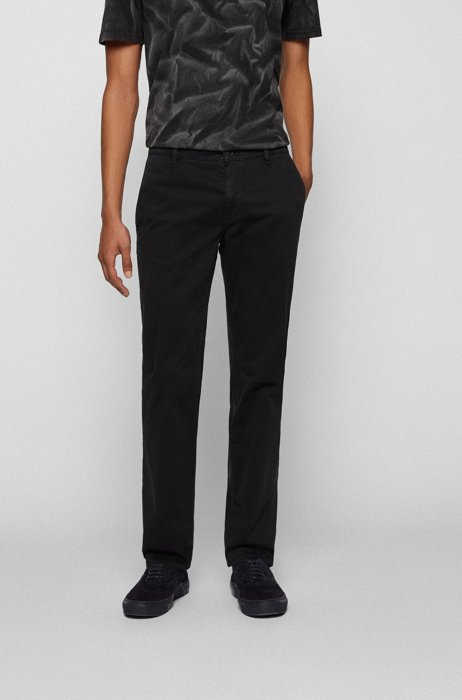 Regular-fit casual chinos in brushed stretch cotton, Black