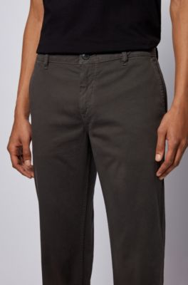 Hugo Boss Men/'s /'Lukes 7-W/' Grey Relaxed Fit Stretch Cotton Casual Pants 36R